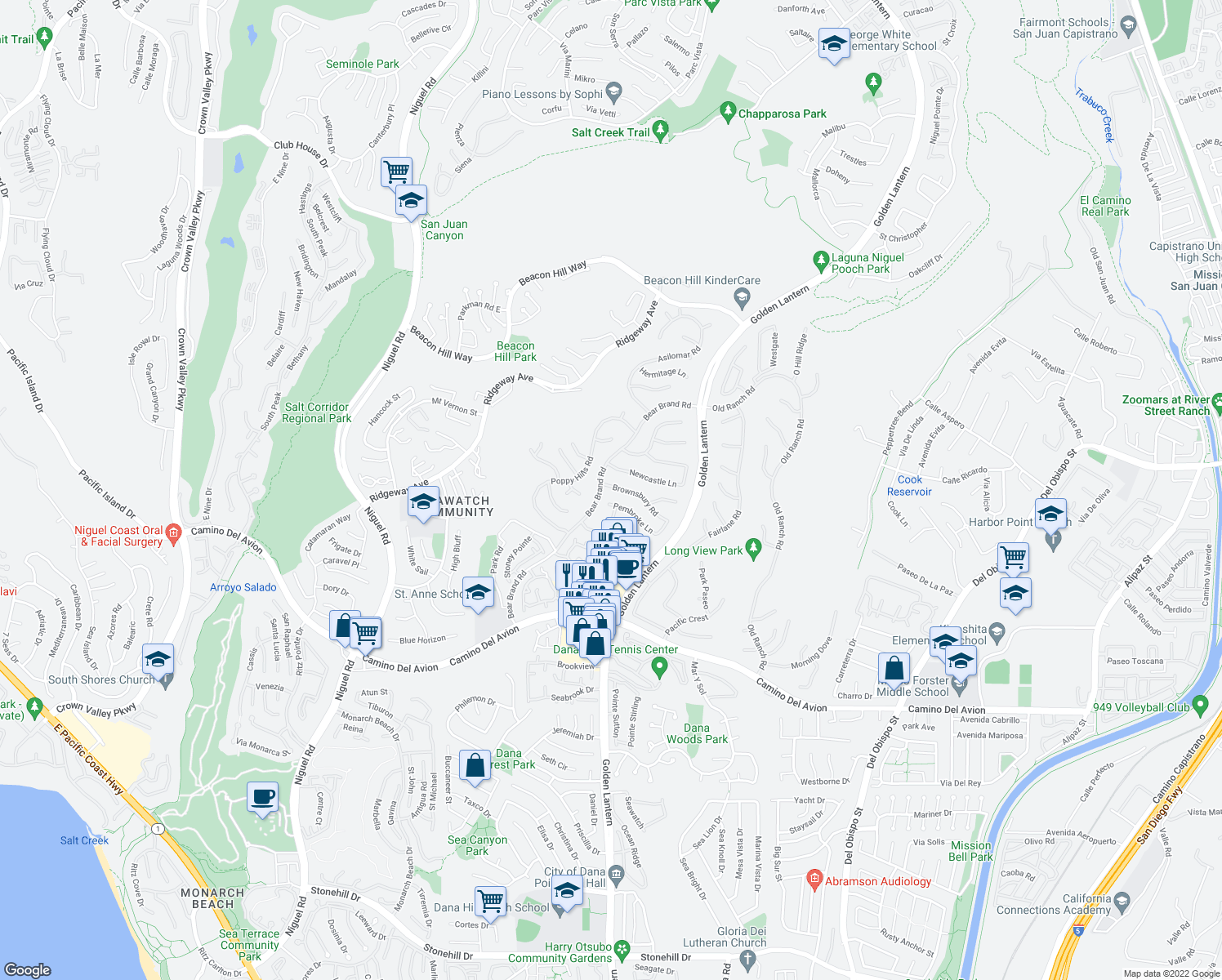 map of restaurants, bars, coffee shops, grocery stores, and more near 4 Brownsbury Road in Laguna Niguel
