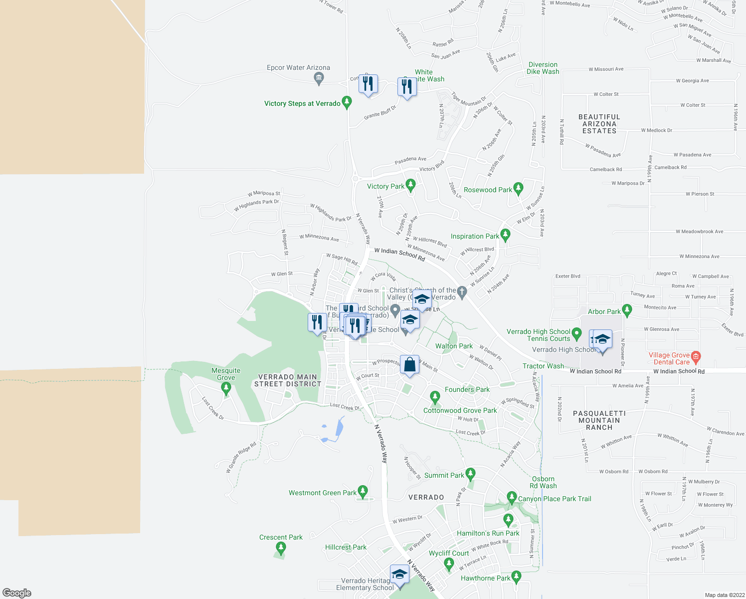 map of restaurants, bars, coffee shops, grocery stores, and more near 4417 North Village Street in Buckeye