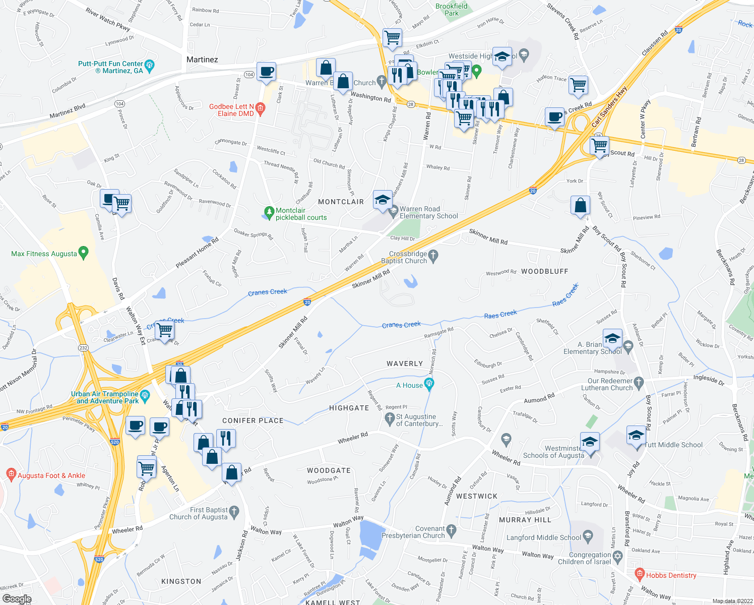 map of restaurants, bars, coffee shops, grocery stores, and more near 3170 Skinner Mill Road in Augusta