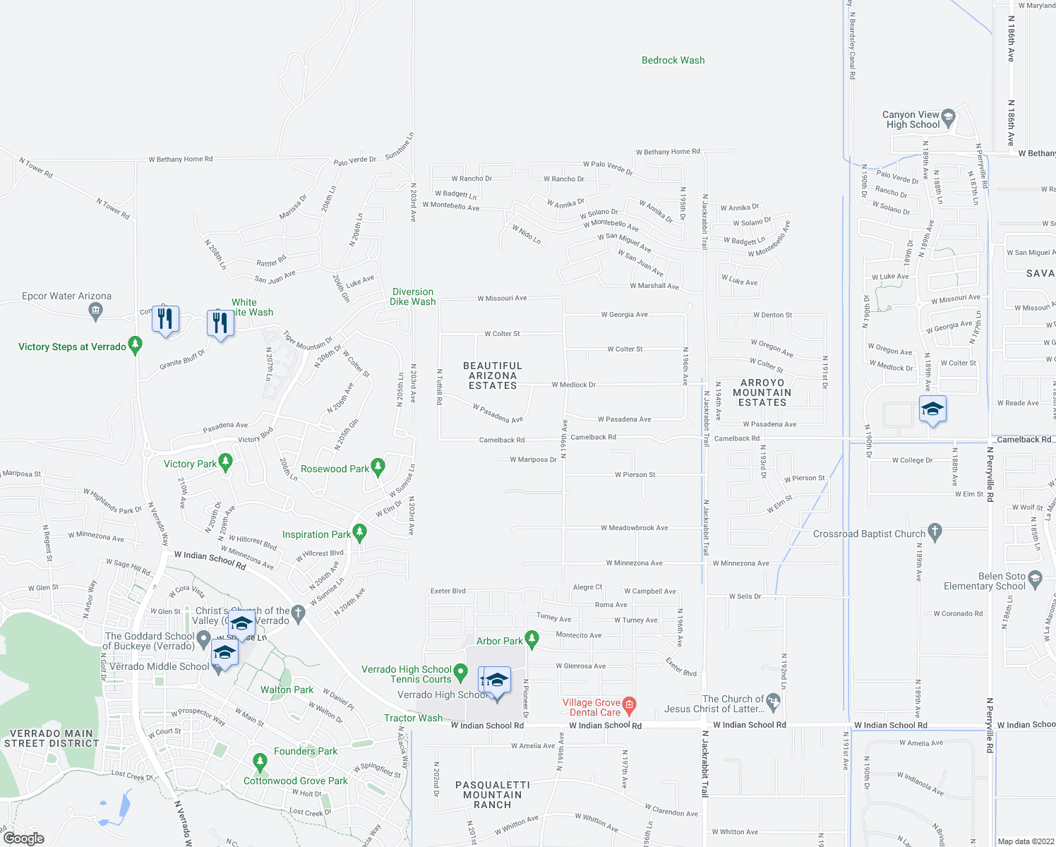 map of restaurants, bars, coffee shops, grocery stores, and more near 20041 West Pasadena Avenue in Litchfield Park