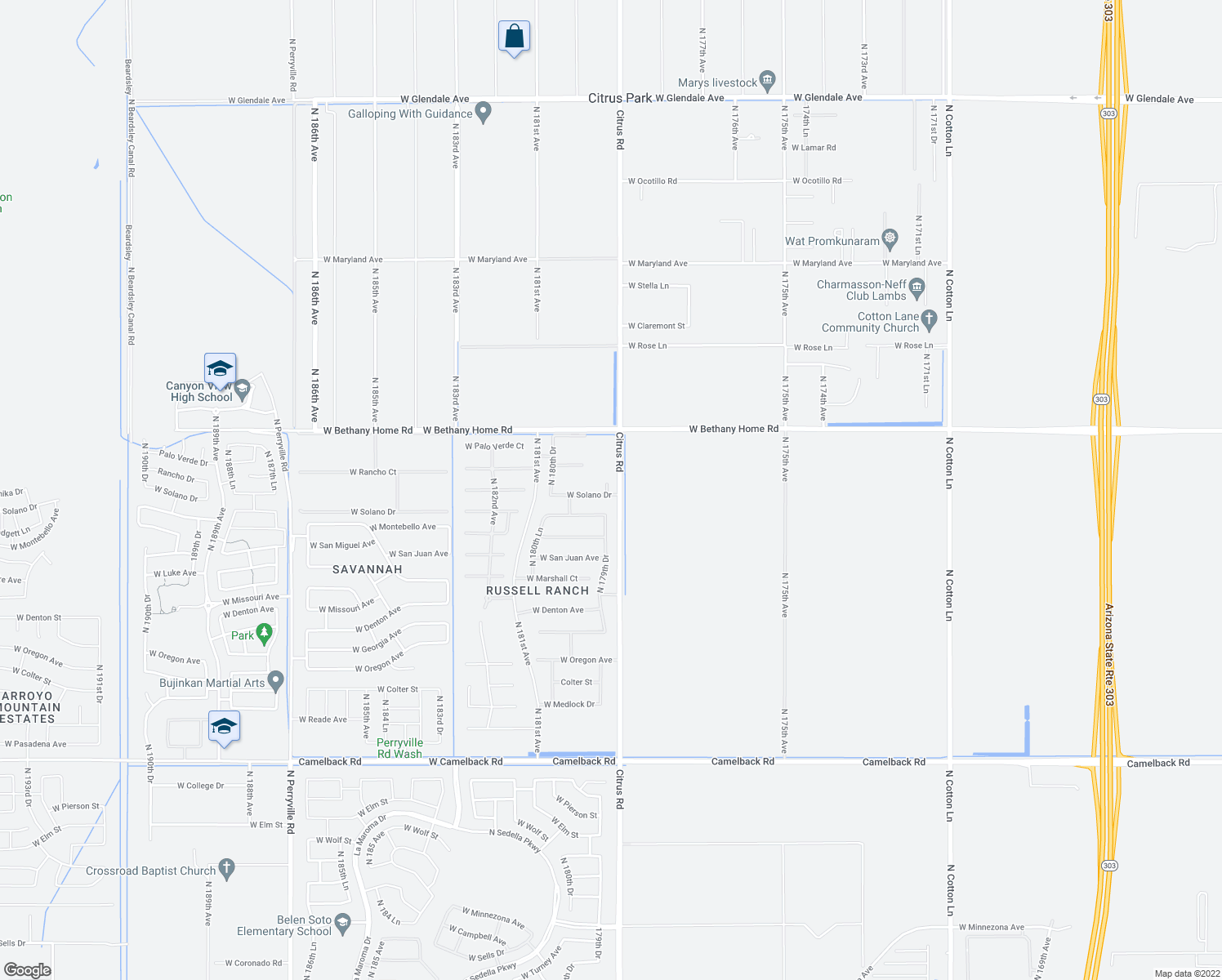 map of restaurants, bars, coffee shops, grocery stores, and more near 5807 North Dannys Court in Litchfield Park