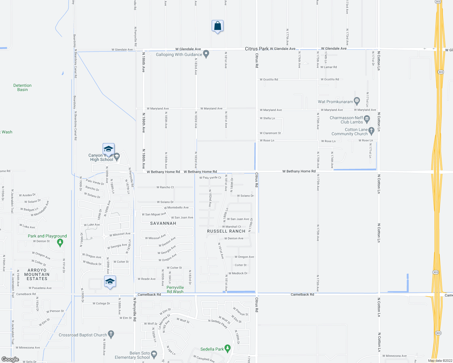 map of restaurants, bars, coffee shops, grocery stores, and more near 5707 North 181st Drive in Litchfield Park