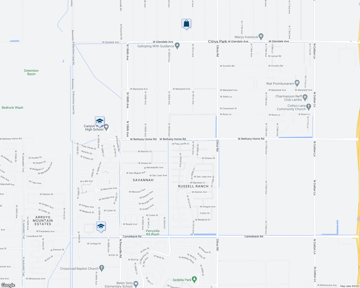 map of restaurants, bars, coffee shops, grocery stores, and more near 18152 West Palo Verde Court in Litchfield Park