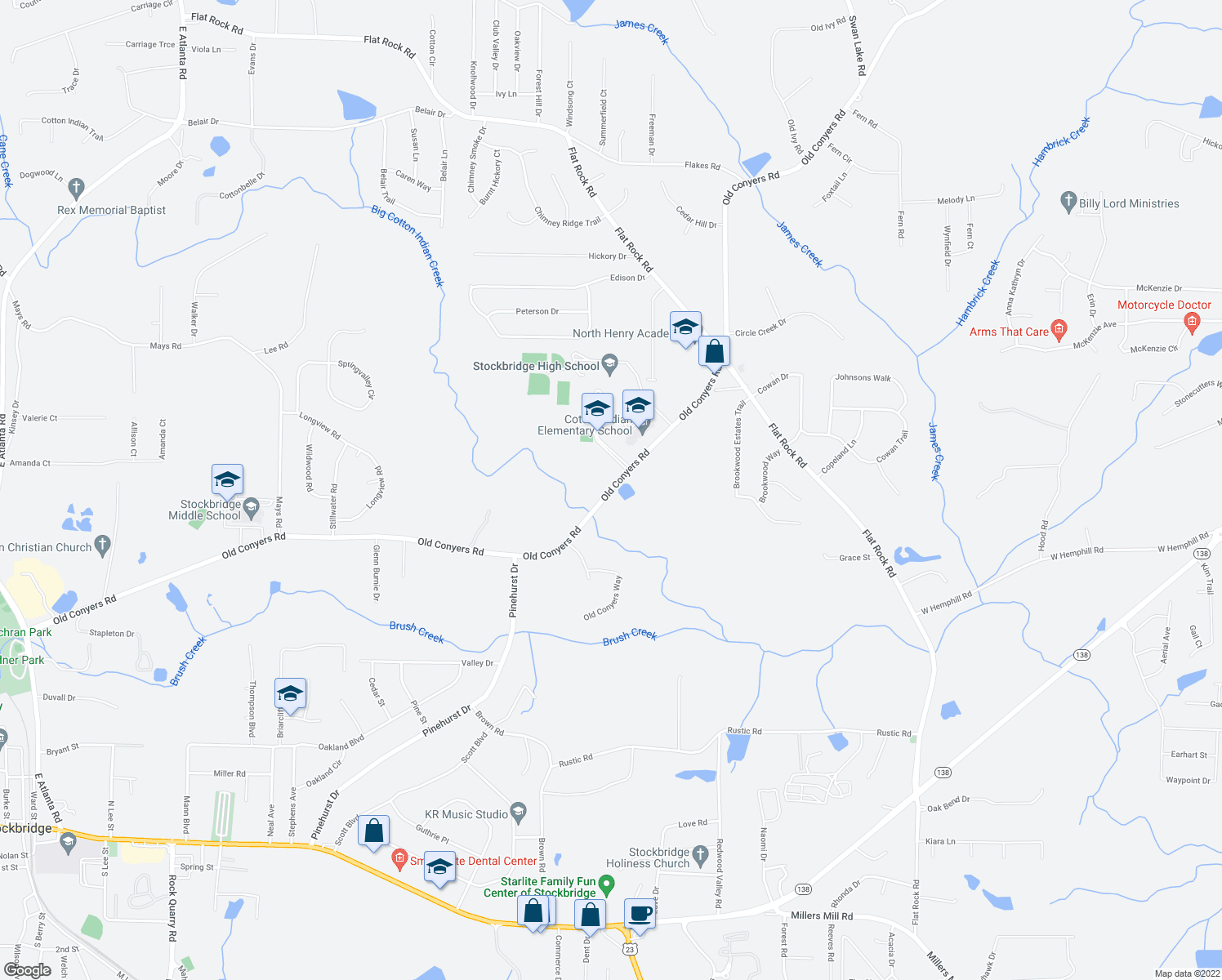 map of restaurants, bars, coffee shops, grocery stores, and more near 1103-1313 Old Conyers Road in Stockbridge