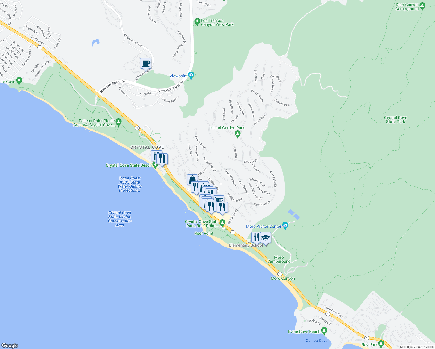 map of restaurants, bars, coffee shops, grocery stores, and more near 4 Rockshore Bluff in Newport Beach