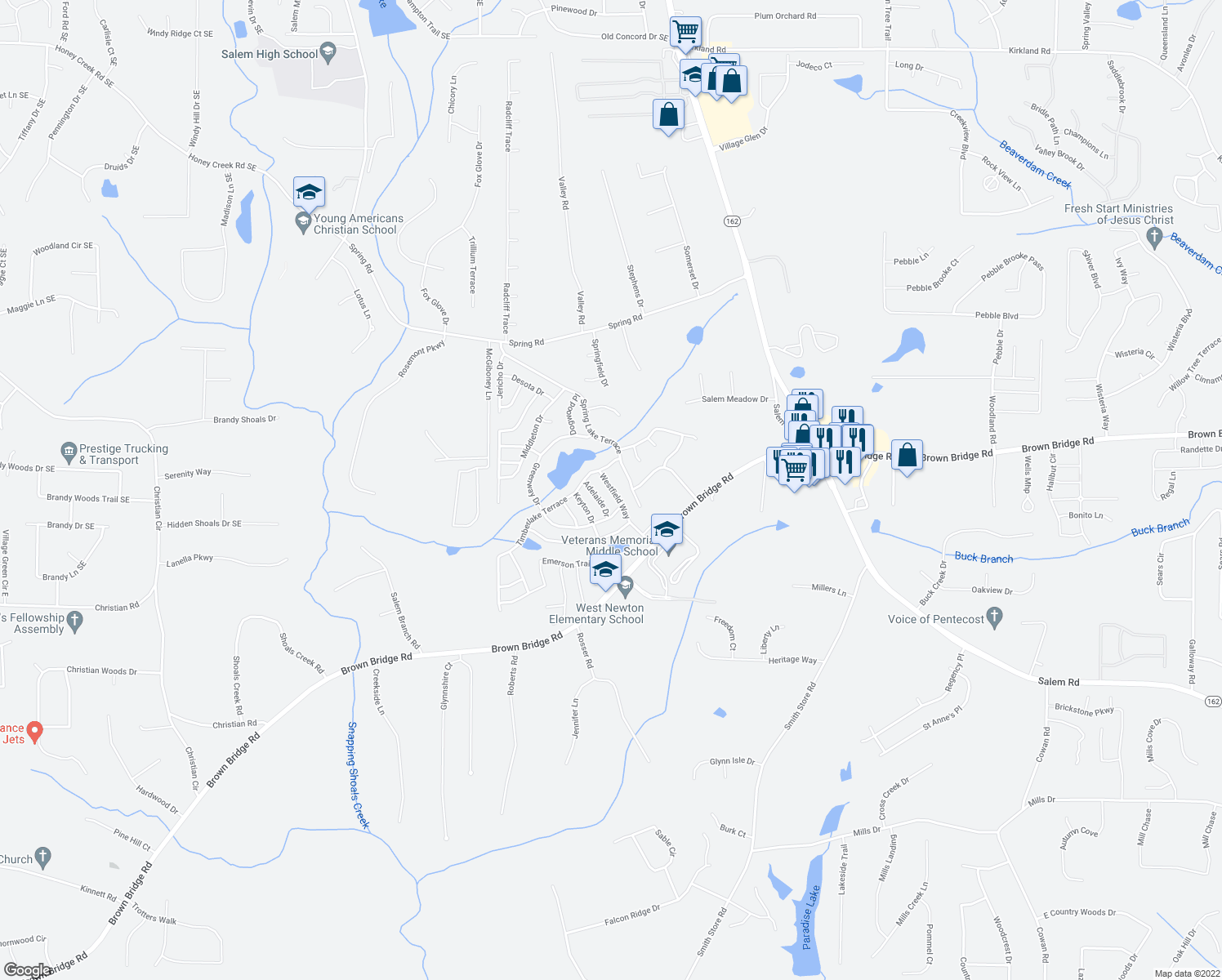 map of restaurants, bars, coffee shops, grocery stores, and more near 1-49 Timberlake Terrace in Covington