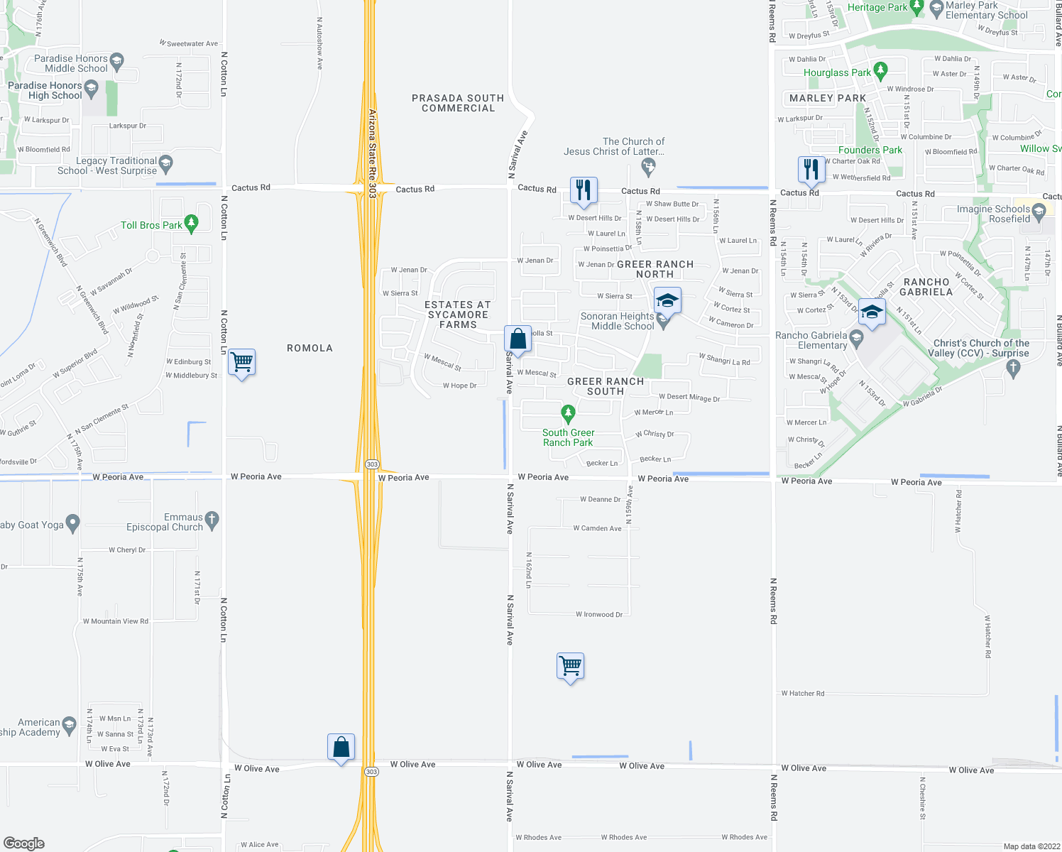map of restaurants, bars, coffee shops, grocery stores, and more near 16256 Crenshaw Drive North in Surprise