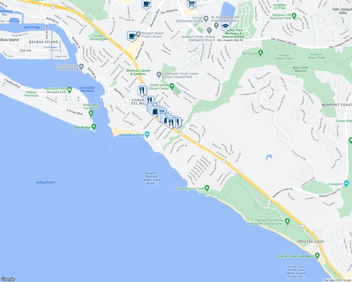 map of restaurants, bars, coffee shops, grocery stores, and more near 261 Evening Canyon Road in Newport Beach