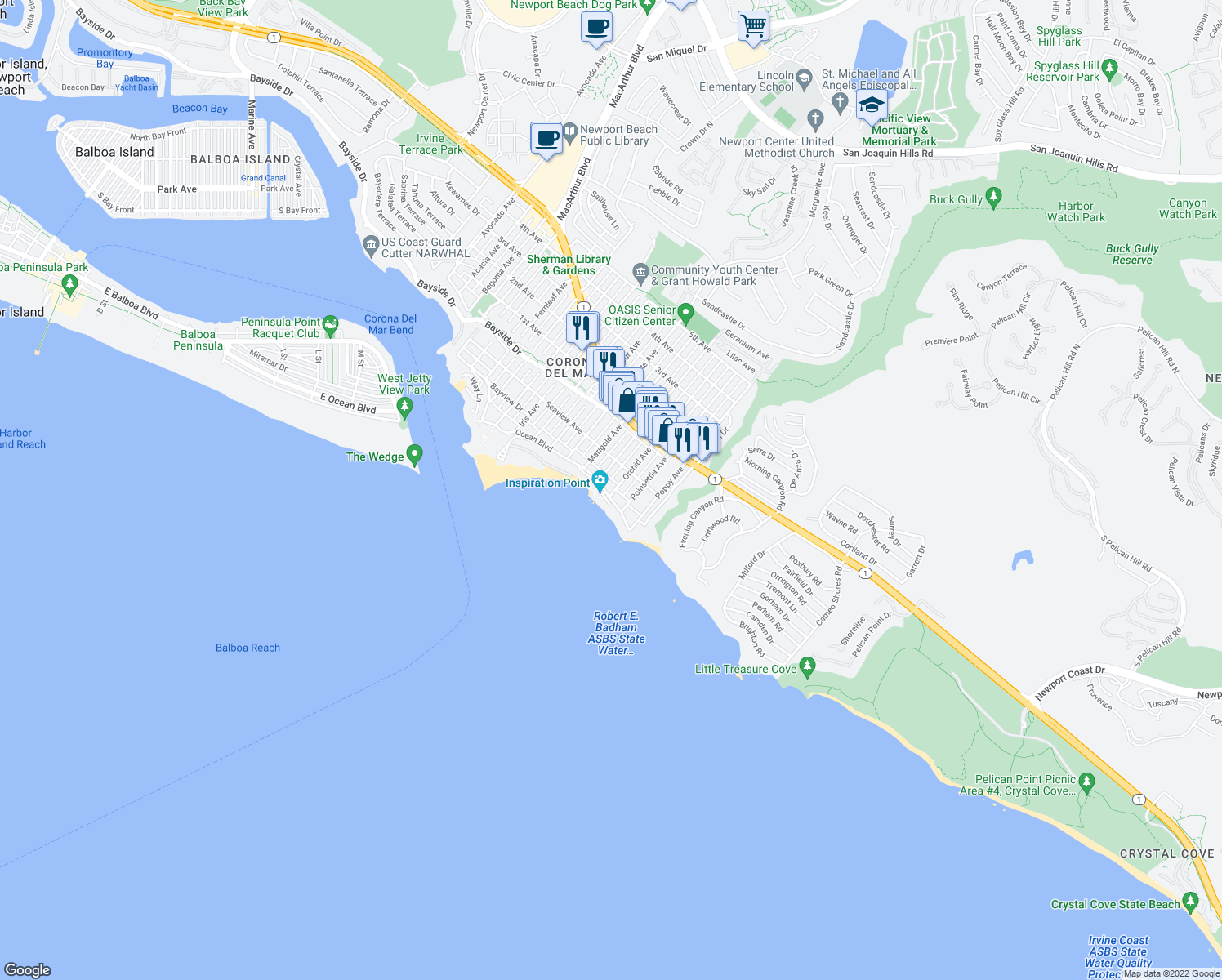 map of restaurants, bars, coffee shops, grocery stores, and more near 3528 Ocean Boulevard in Newport Beach