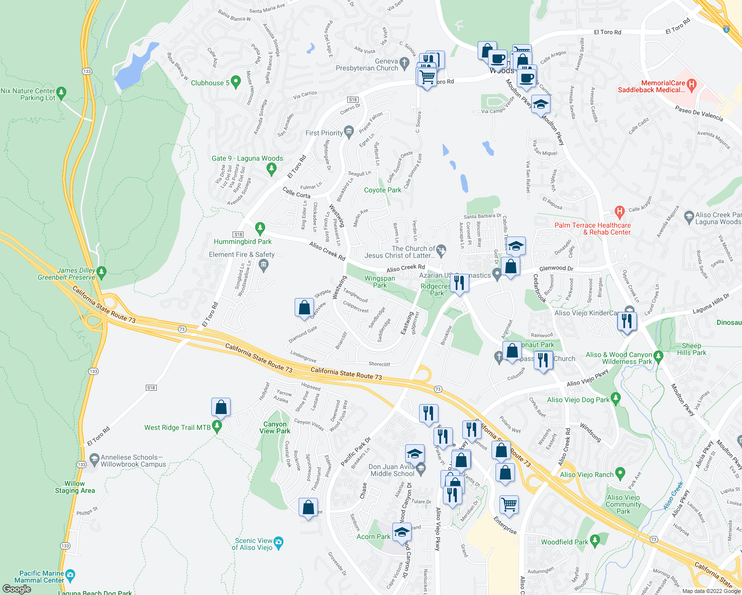 map of restaurants, bars, coffee shops, grocery stores, and more near 39 Tanglewood in Aliso Viejo