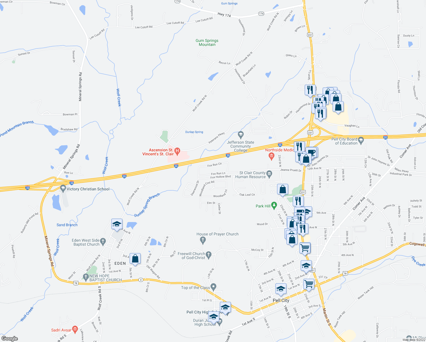 map of restaurants, bars, coffee shops, grocery stores, and more near 510 Fox Run Circle in Pell City