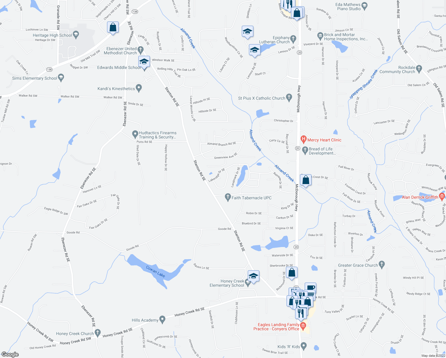 map of restaurants, bars, coffee shops, grocery stores, and more near 591 Seneca Ct SE in Conyers