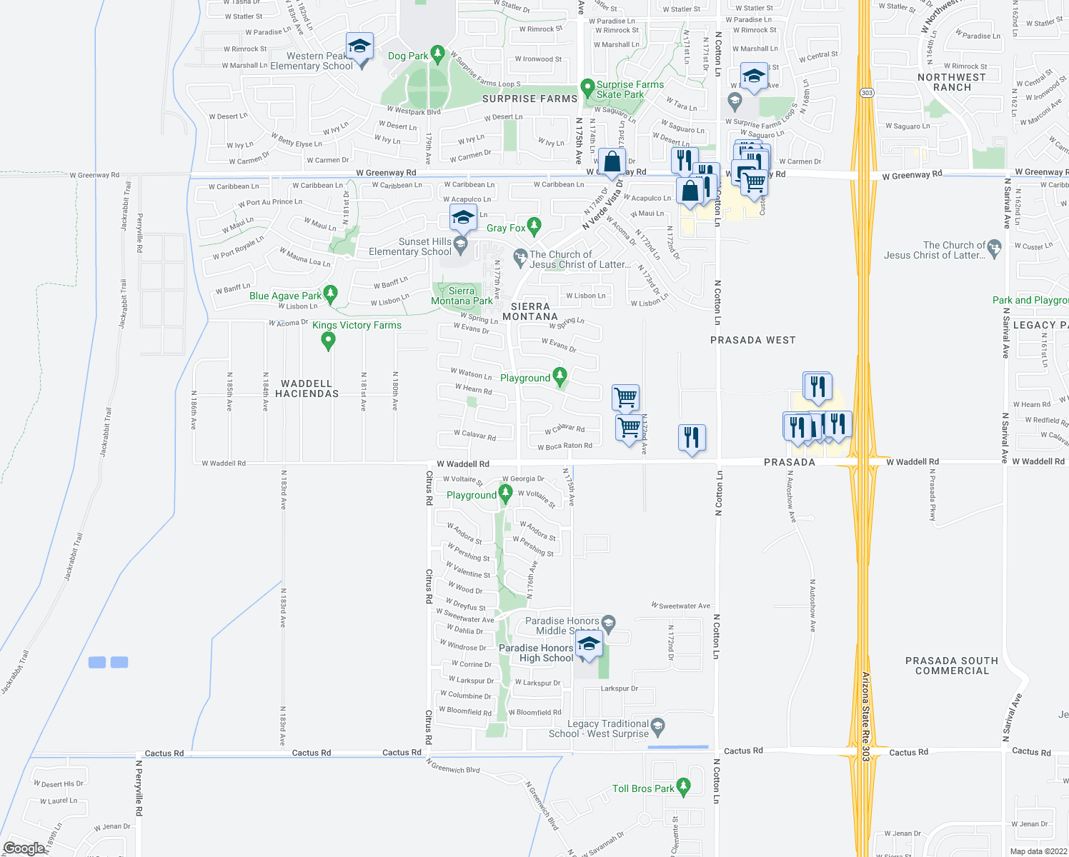 map of restaurants, bars, coffee shops, grocery stores, and more near 14028 North 176th Lane in Surprise