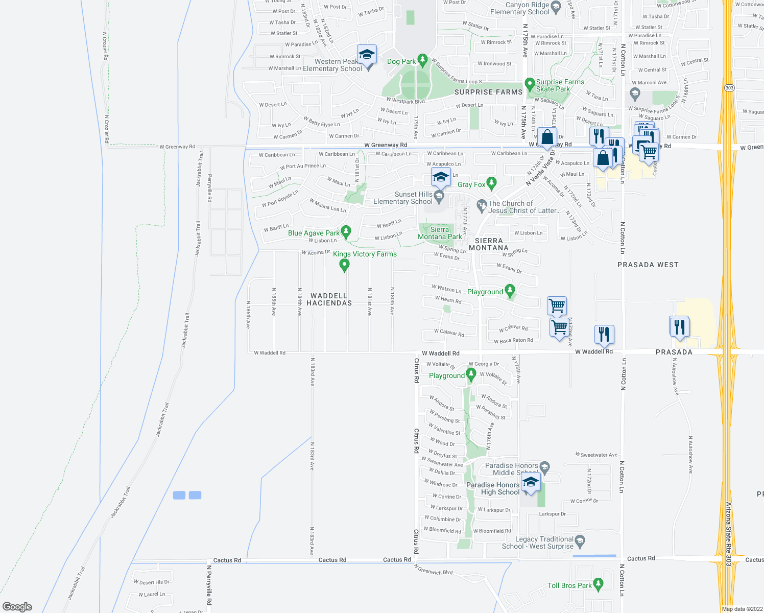 map of restaurants, bars, coffee shops, grocery stores, and more near 14203 North 181st Avenue in Surprise