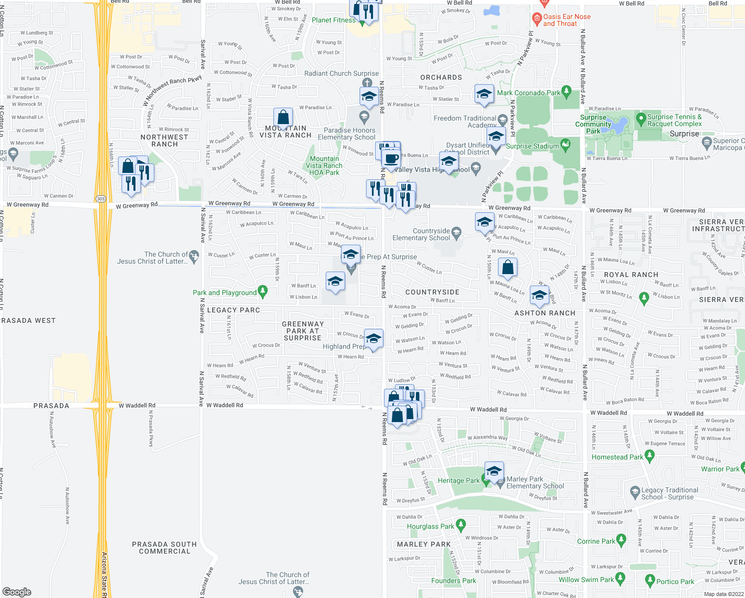 map of restaurants, bars, coffee shops, grocery stores, and more near 15519 West Lisbon Lane in Surprise