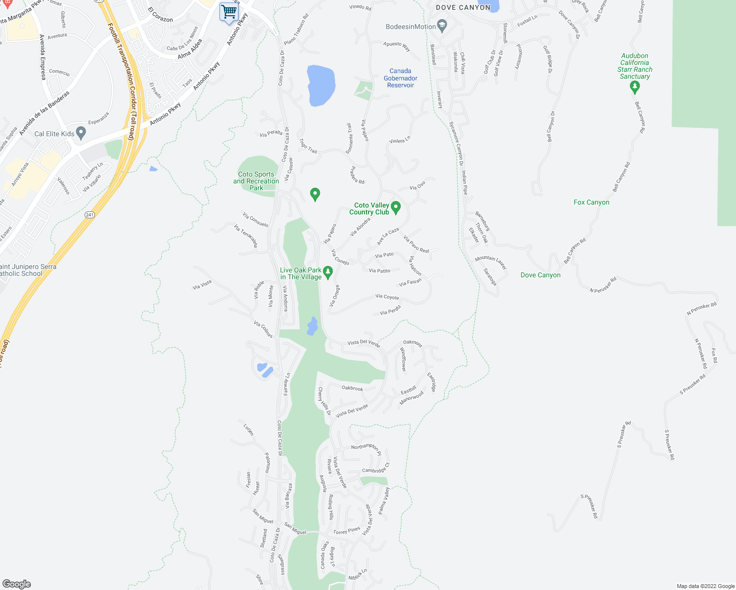 map of restaurants, bars, coffee shops, grocery stores, and more near 31691 Via Coyote in Coto de Caza