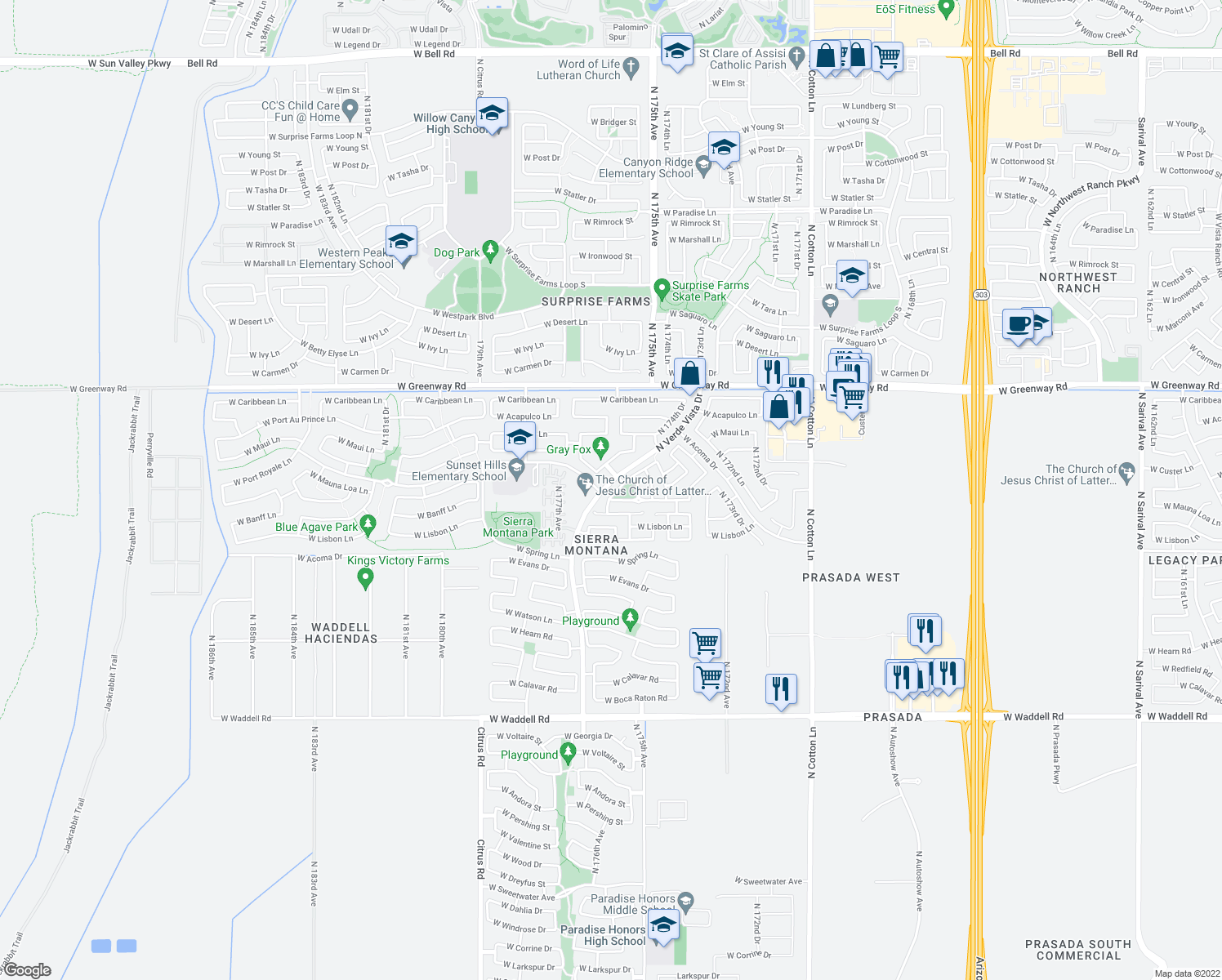 map of restaurants, bars, coffee shops, grocery stores, and more near 17584 W Mauna Loa Ln in Surprise