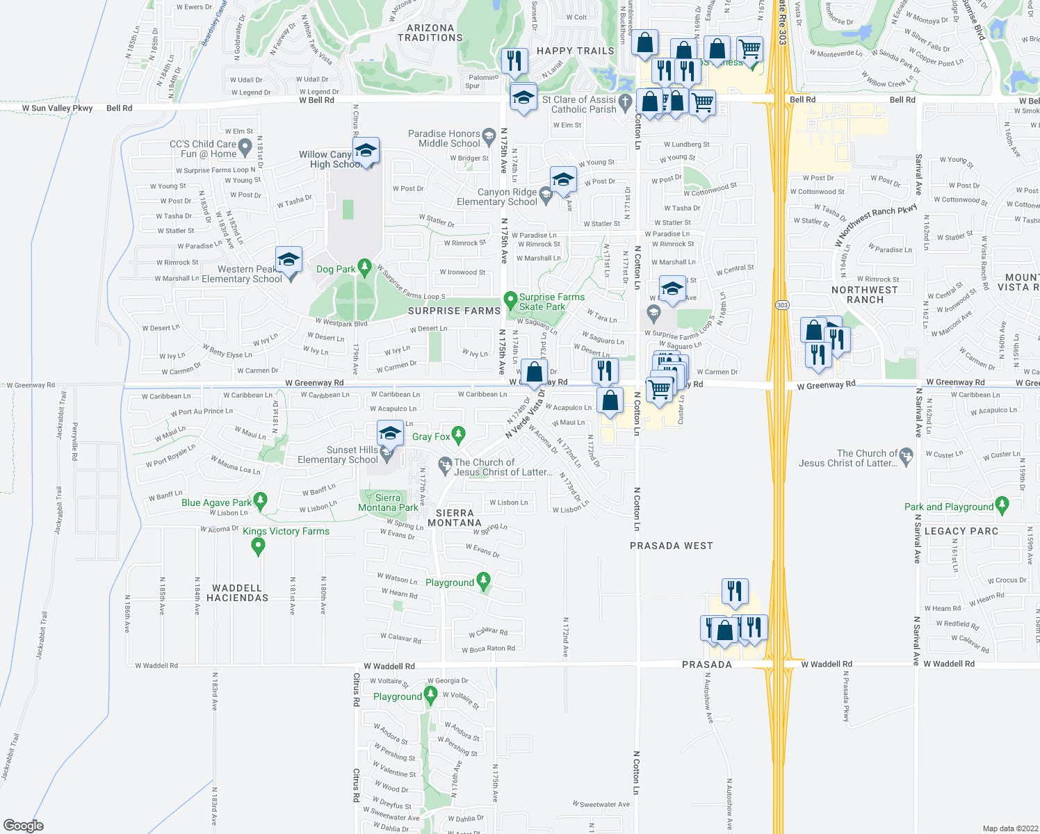 map of restaurants, bars, coffee shops, grocery stores, and more near 15165 North 174th Drive in Surprise