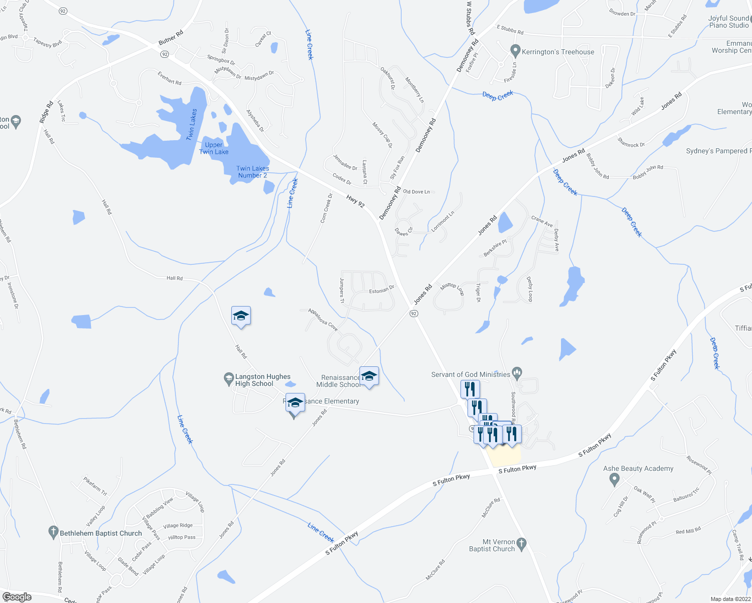 map of restaurants, bars, coffee shops, grocery stores, and more near 310 Welsh Court in Fairburn