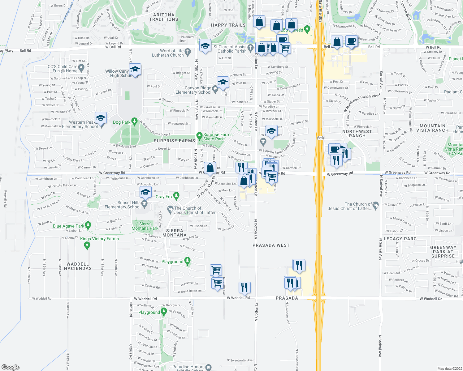 map of restaurants, bars, coffee shops, grocery stores, and more near 17233 West Acapulco Lane in Surprise