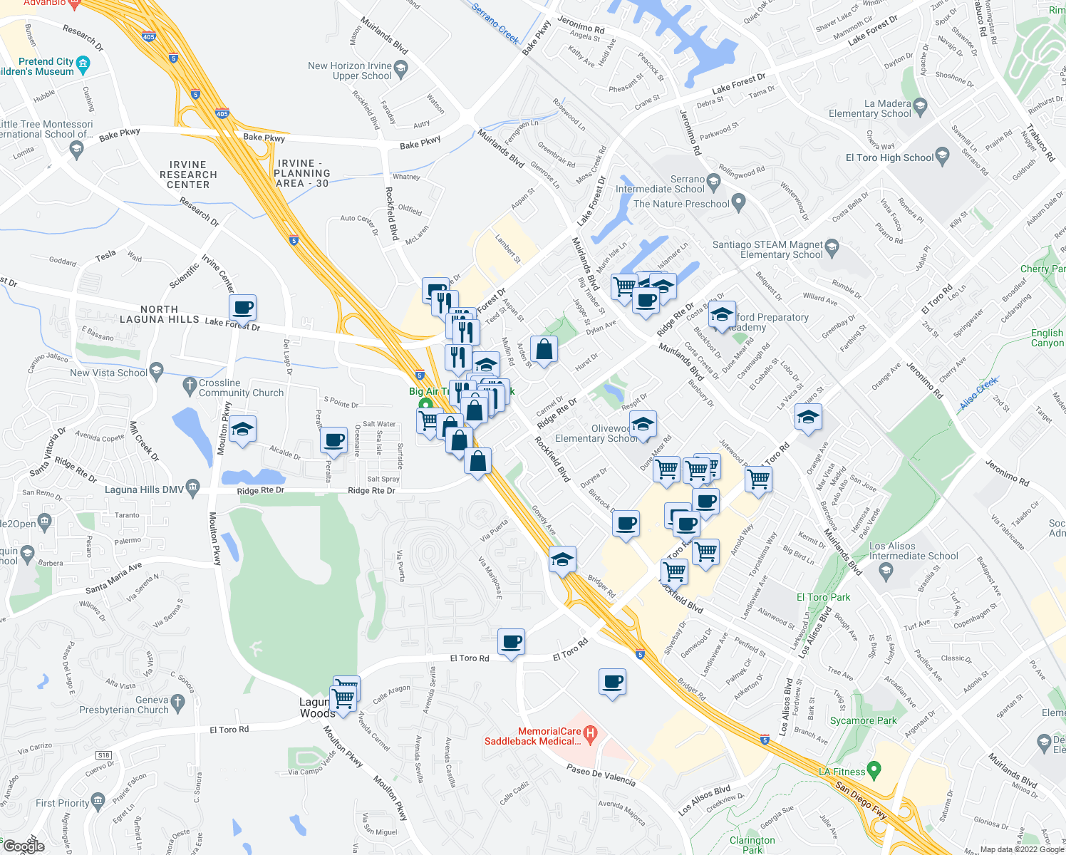 map of restaurants, bars, coffee shops, grocery stores, and more near Rockfield Blvd & Ridge Route Dr in Lake Forest