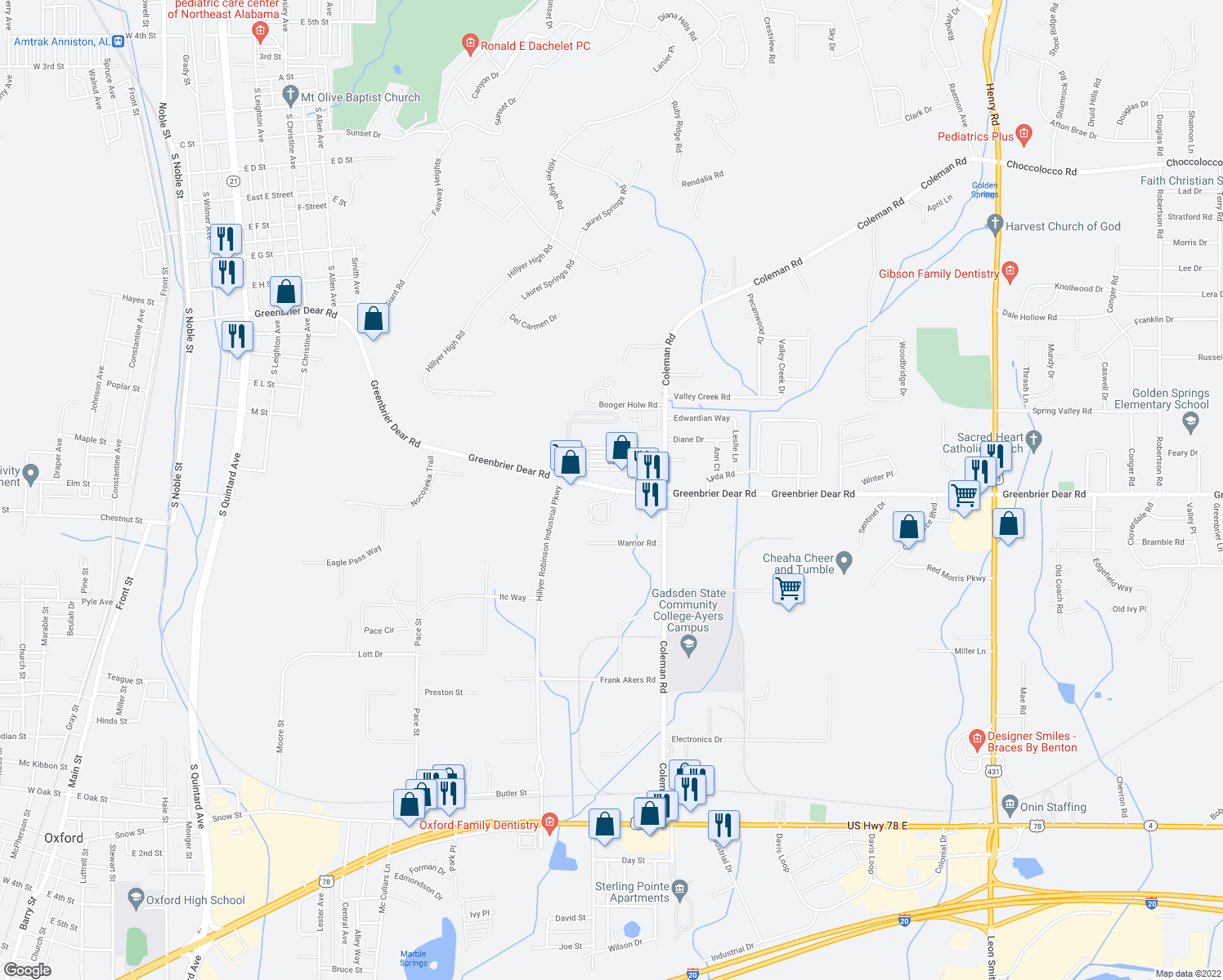 map of restaurants, bars, coffee shops, grocery stores, and more near 1521 Greenbrier Dear Road in Anniston