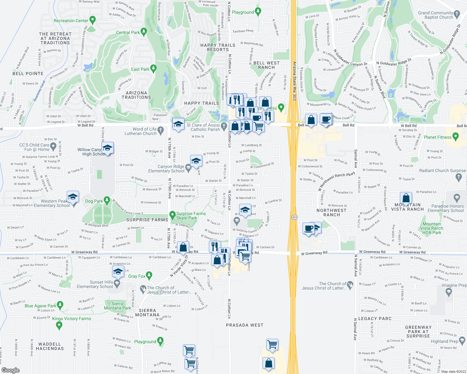 map of restaurants, bars, coffee shops, grocery stores, and more near 17058 West Rimrock Street in Surprise