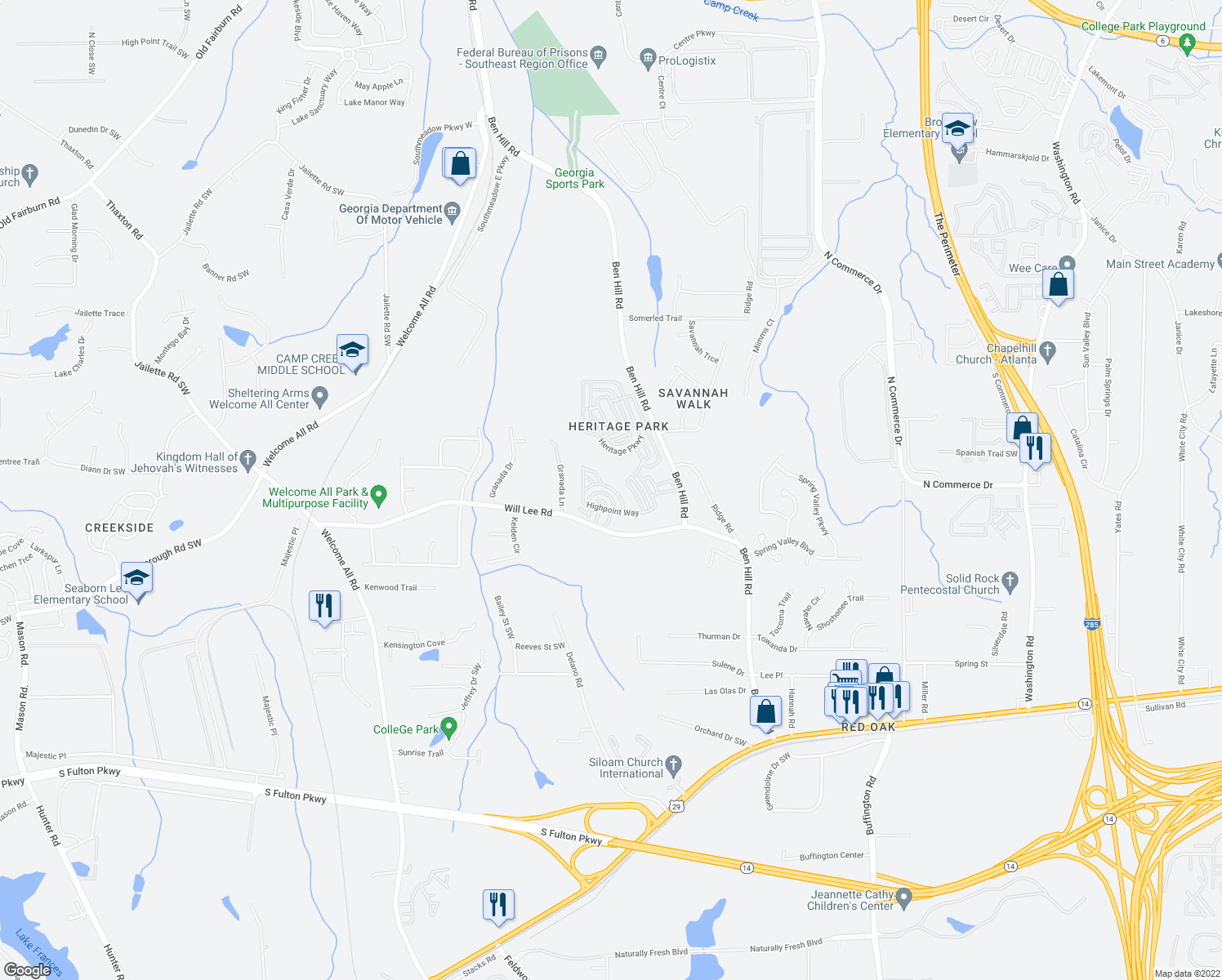 map of restaurants, bars, coffee shops, grocery stores, and more near 4855 West Park Circle in Atlanta