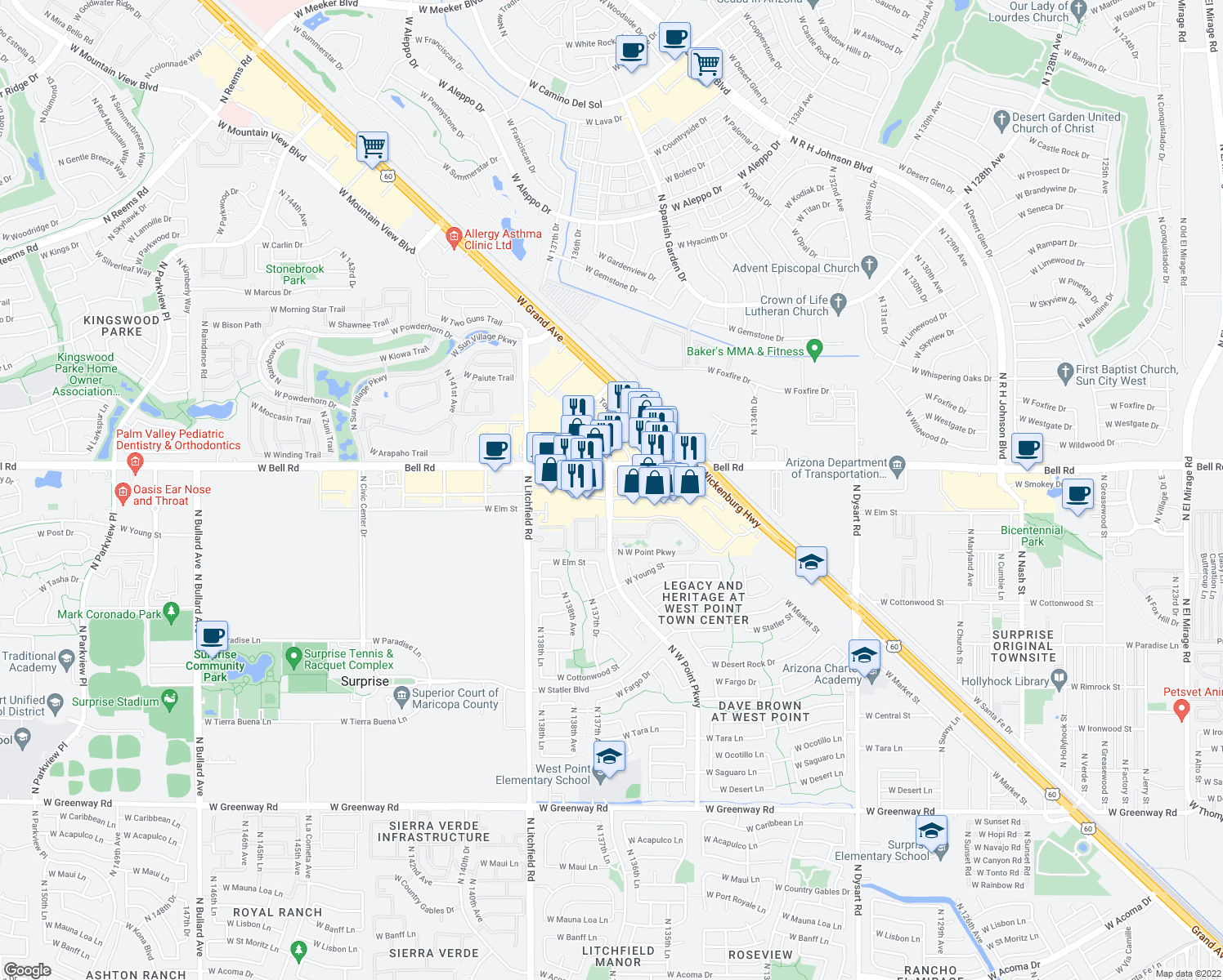 map of restaurants, bars, coffee shops, grocery stores, and more near 16682 North West-Point Parkway in Surprise