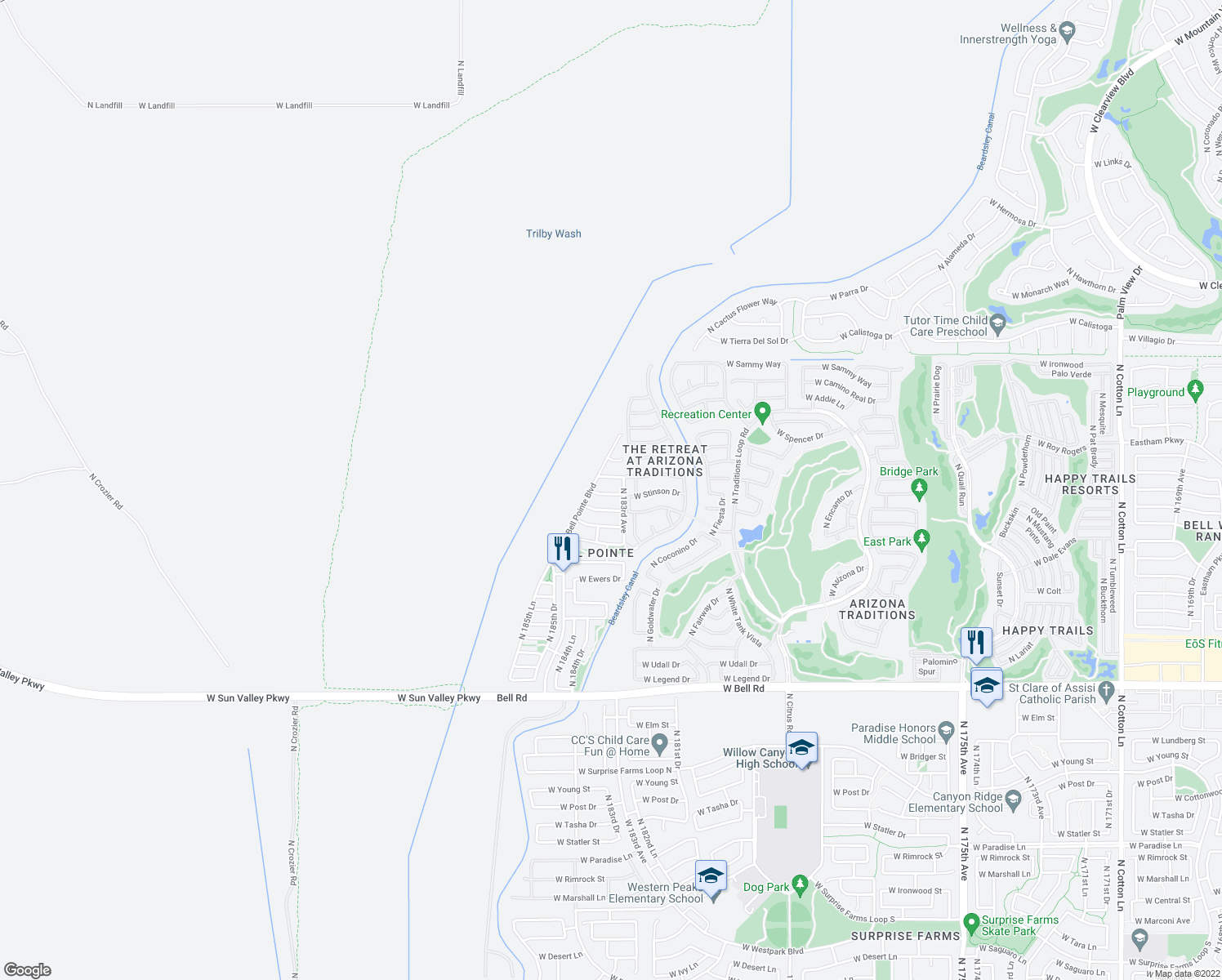 map of restaurants, bars, coffee shops, grocery stores, and more near 18356 West Stinson Drive in Surprise