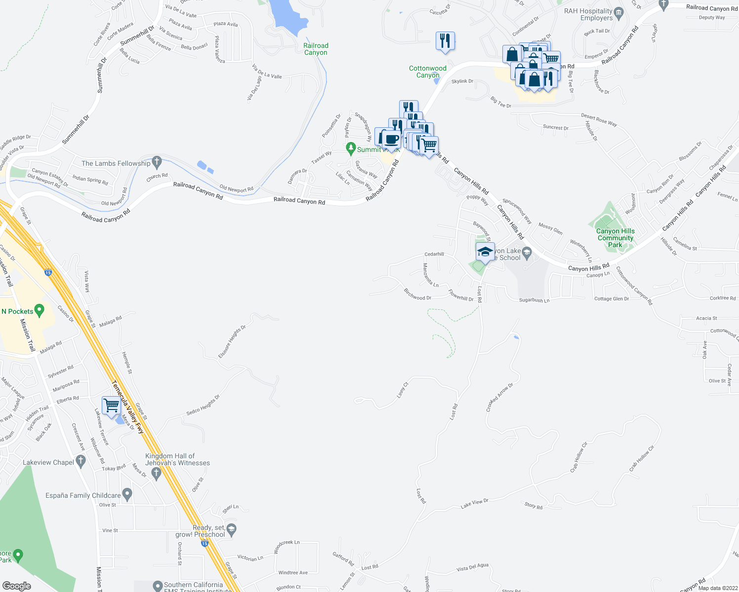 map of restaurants, bars, coffee shops, grocery stores, and more near 31866 Willow Wood Court in Lake Elsinore