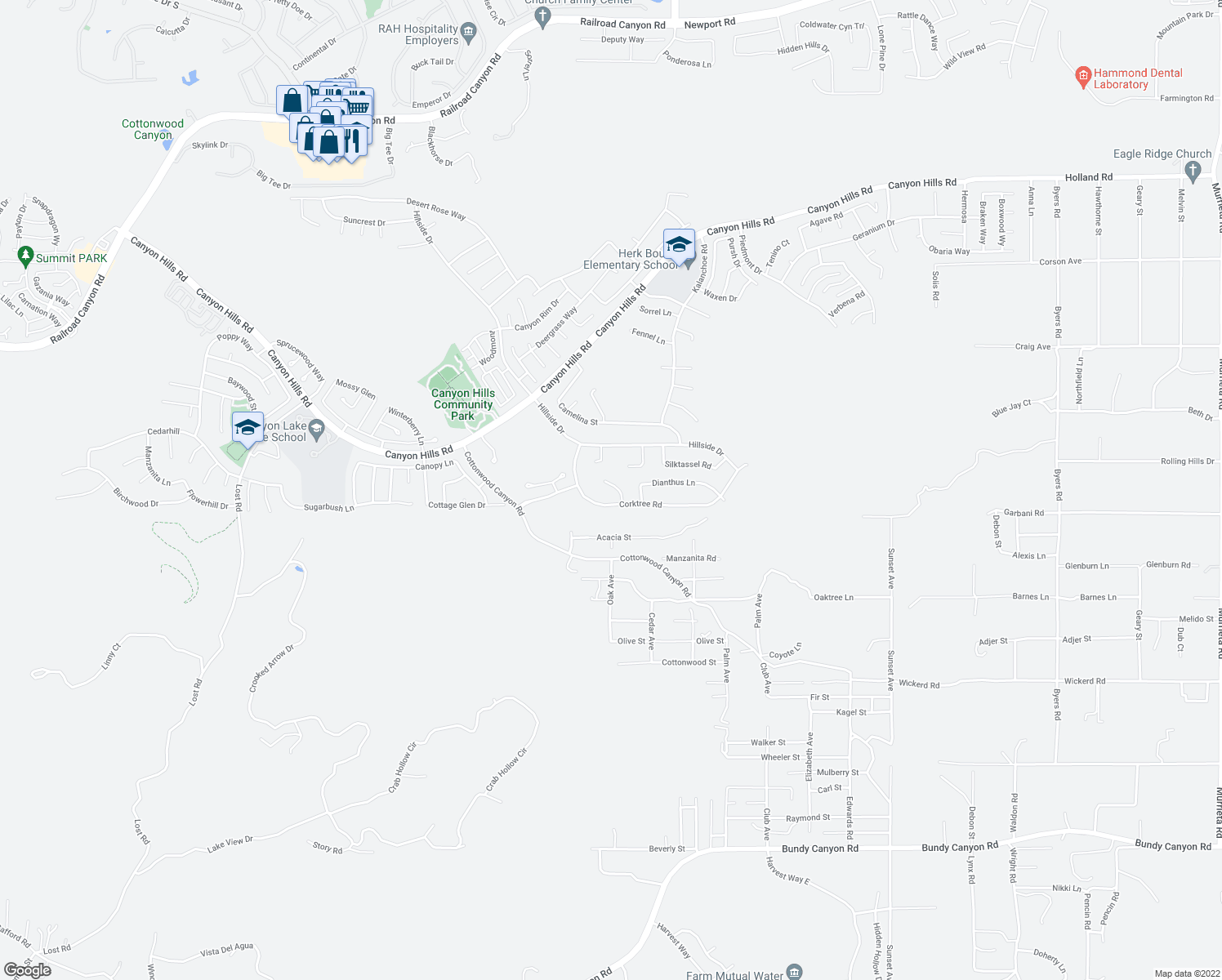 map of restaurants, bars, coffee shops, grocery stores, and more near 34093 Lady Fern Court in Lake Elsinore