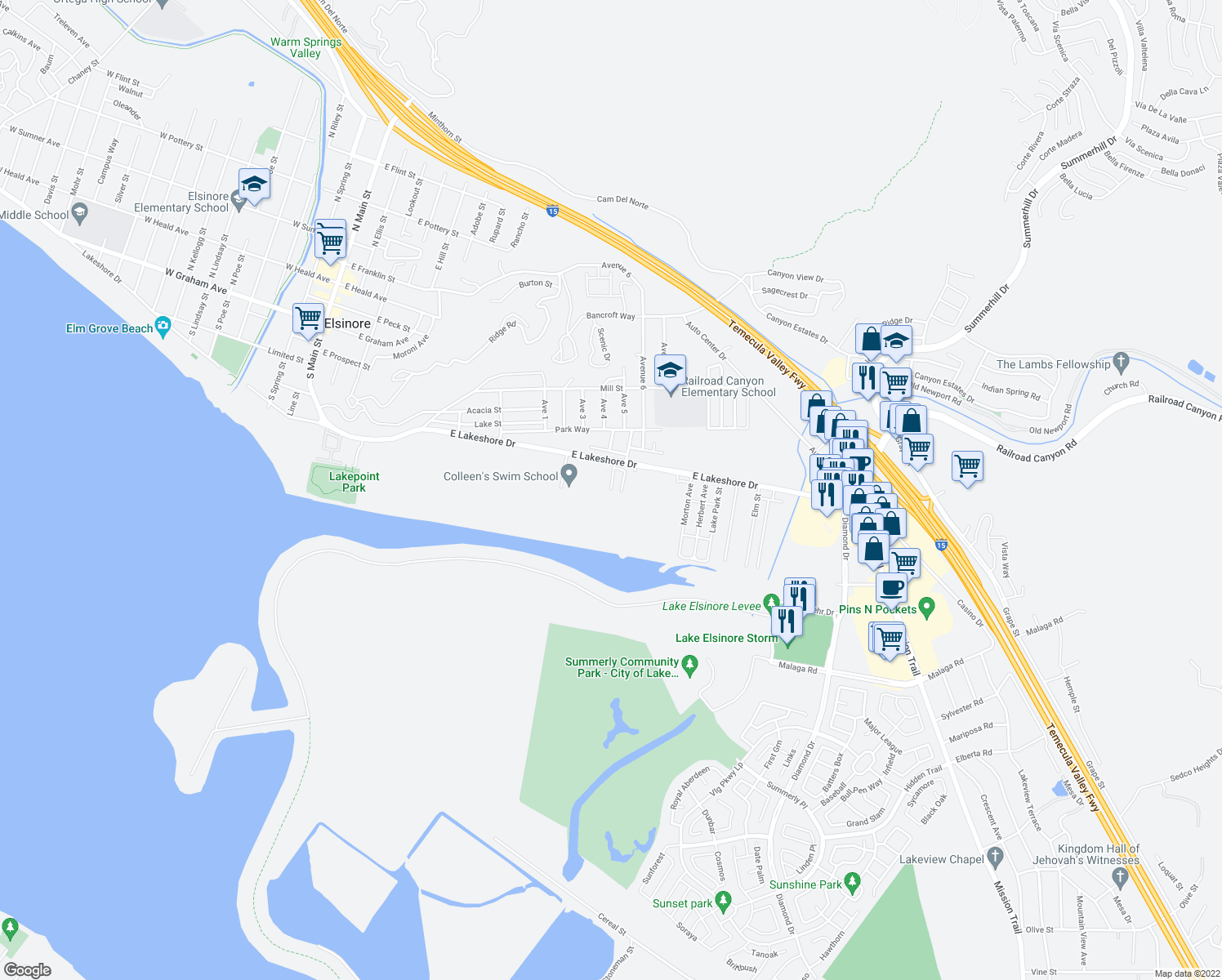 map of restaurants, bars, coffee shops, grocery stores, and more near 0 Marian Street in Lake Elsinore