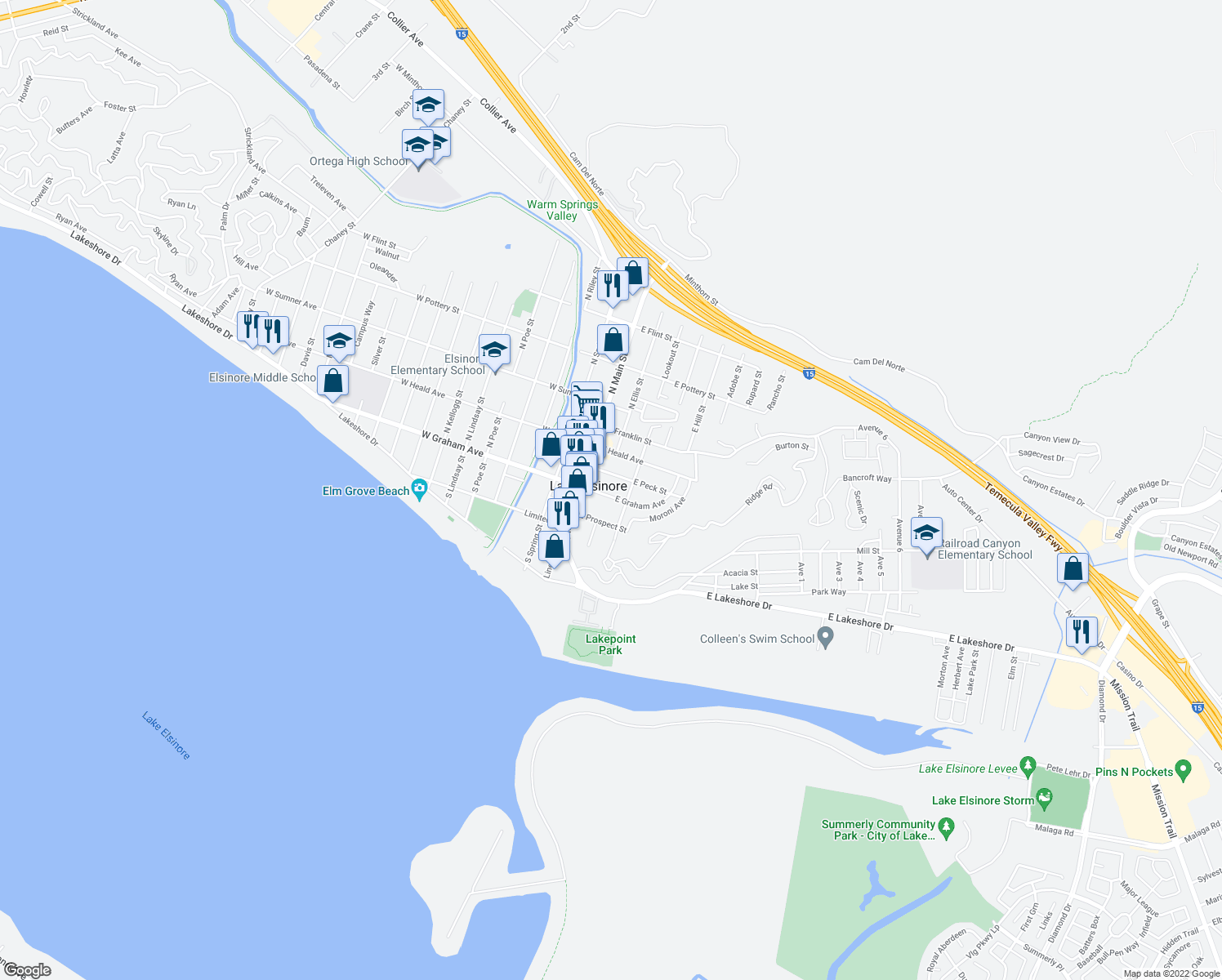map of restaurants, bars, coffee shops, grocery stores, and more near 229 East Graham Avenue in Lake Elsinore