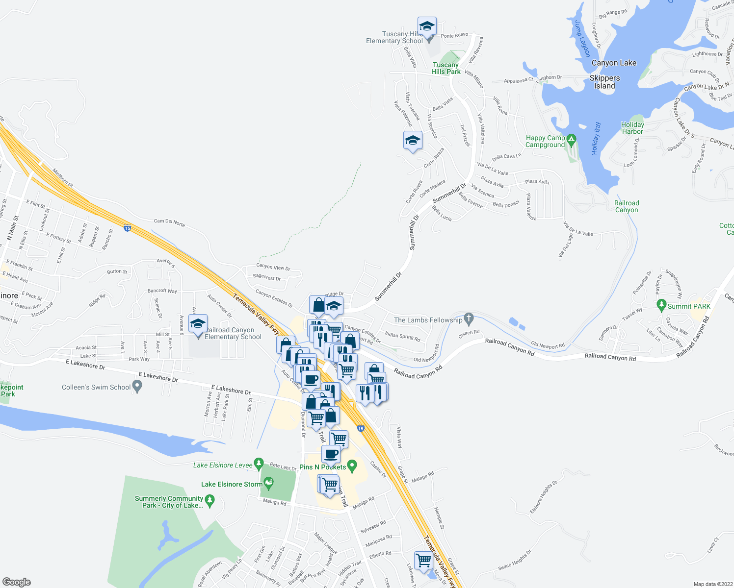 map of restaurants, bars, coffee shops, grocery stores, and more near 31671 Sundance Way in Lake Elsinore