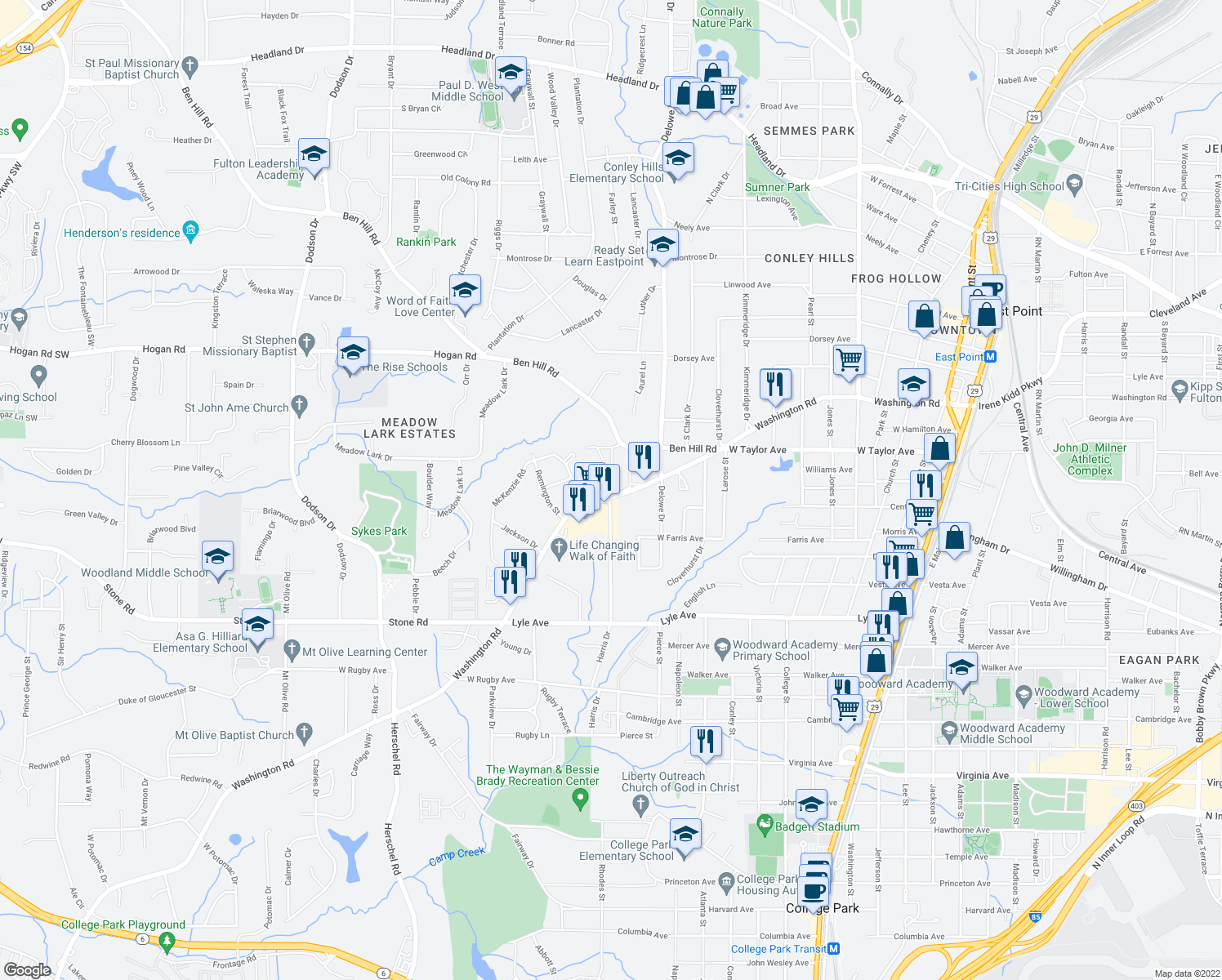 map of restaurants, bars, coffee shops, grocery stores, and more near 3073 Washington Road in Atlanta