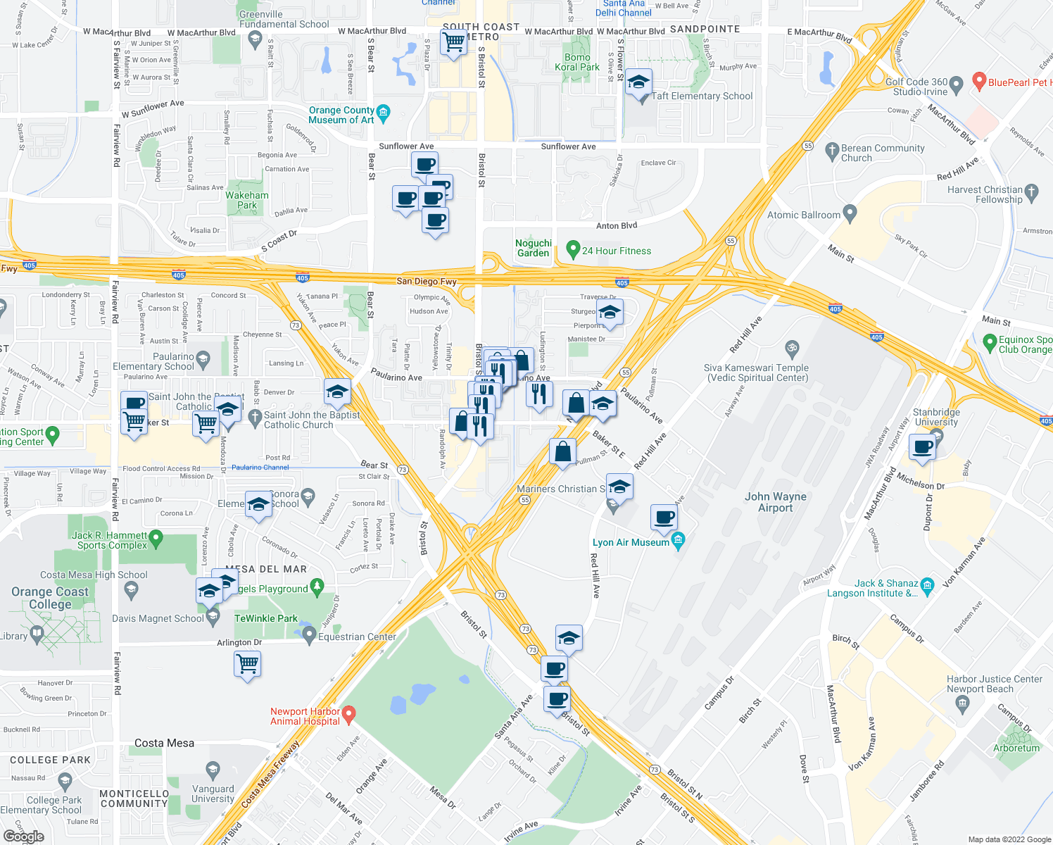 map of restaurants, bars, coffee shops, grocery stores, and more near 637-647 Baker Street in Costa Mesa