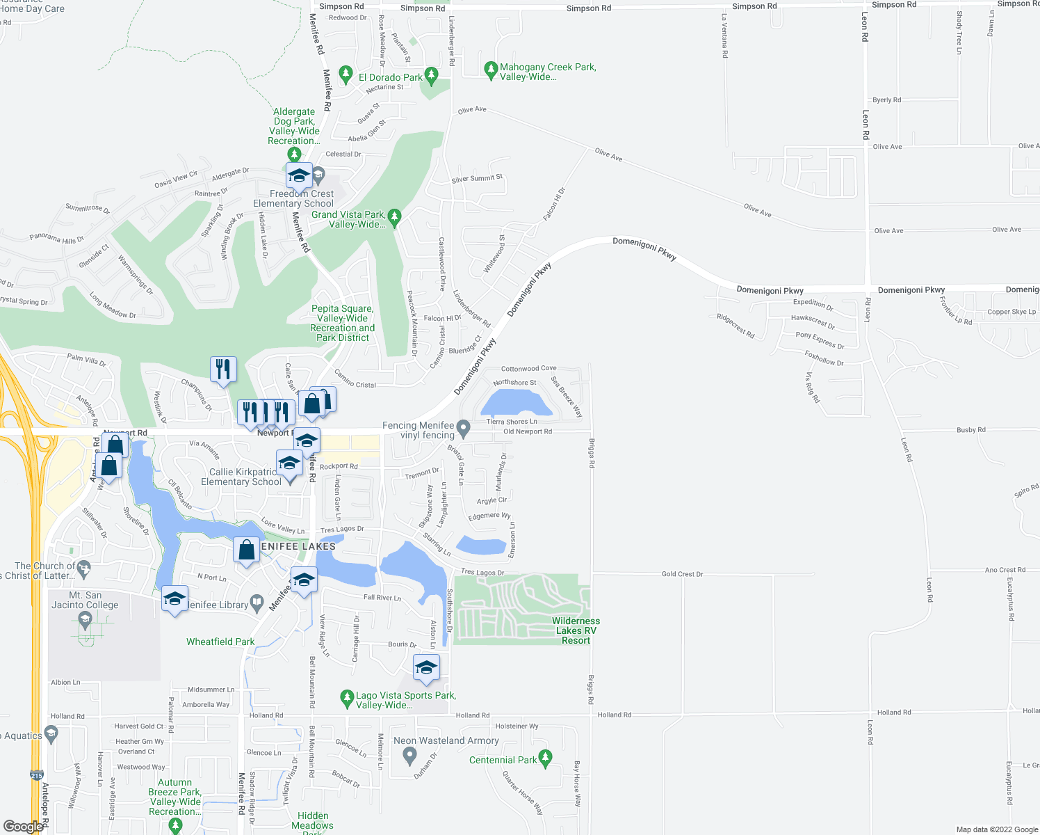 map of restaurants, bars, coffee shops, grocery stores, and more near 29748 Tierra Shores Lane in Menifee