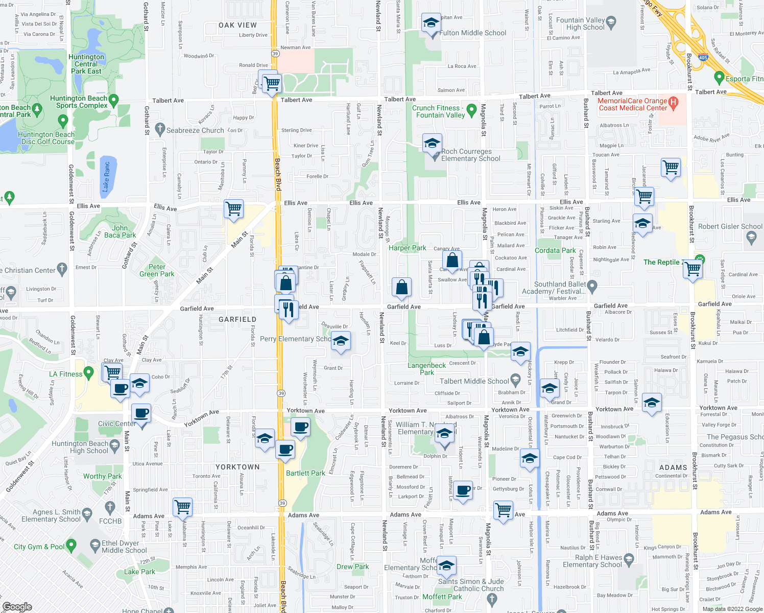 map of restaurants, bars, coffee shops, grocery stores, and more near Newland St & Garfield Ave in Huntington Beach