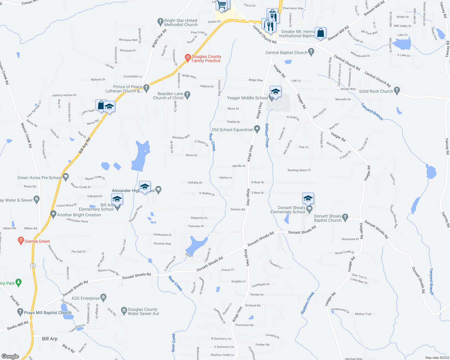 map of restaurants, bars, coffee shops, grocery stores, and more near 6200 Jayma Lane in Douglasville