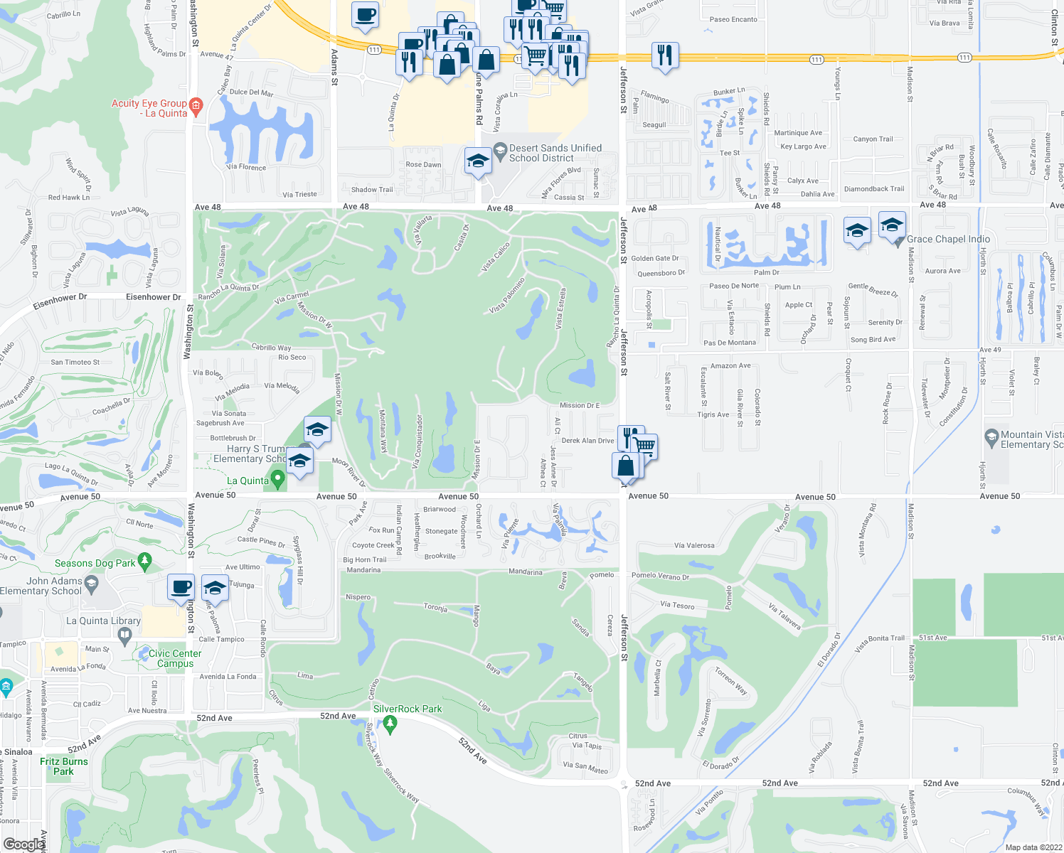 map of restaurants, bars, coffee shops, grocery stores, and more near 49520 Rancho La Merced in La Quinta