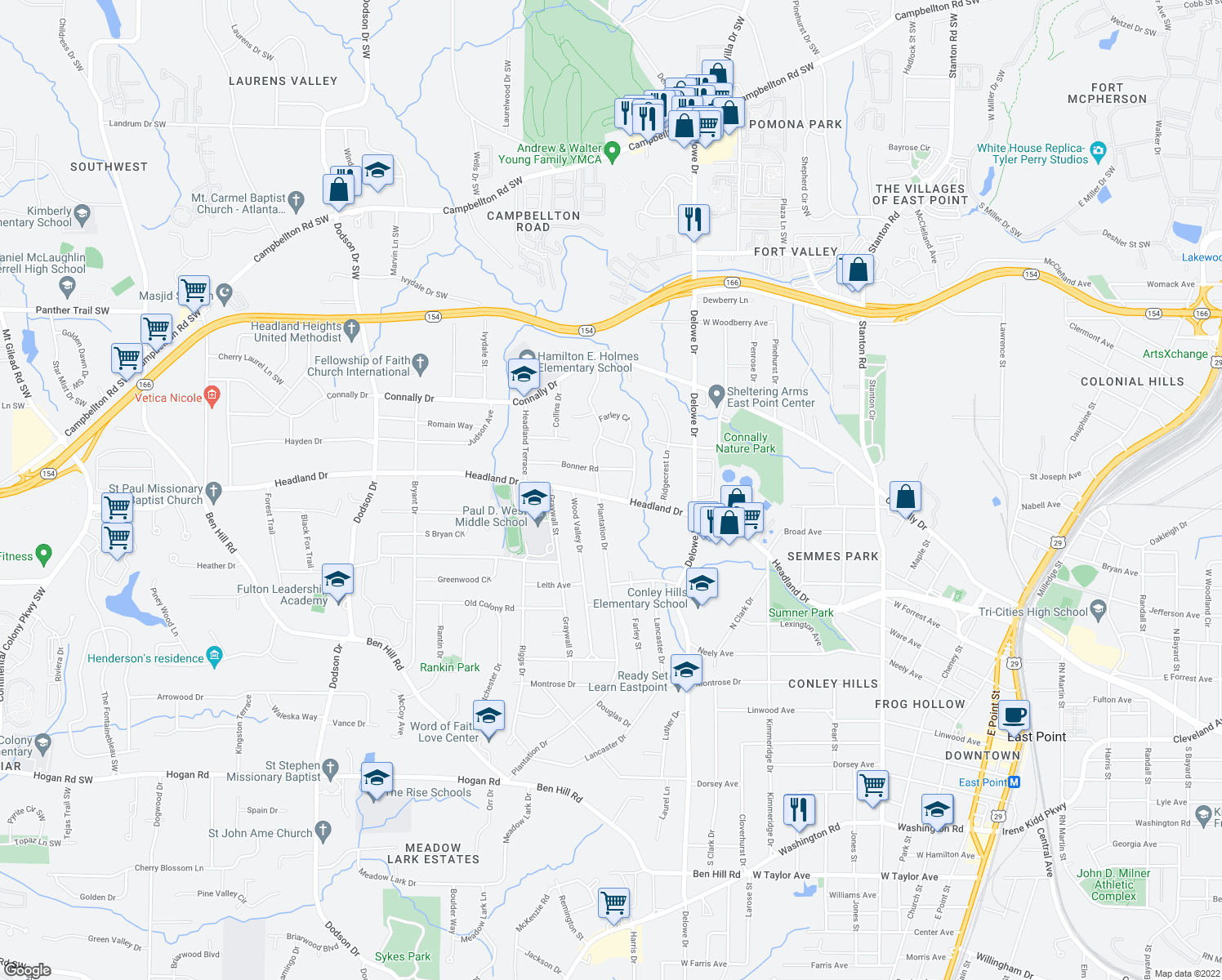 map of restaurants, bars, coffee shops, grocery stores, and more near 2239 Headland Drive in Atlanta