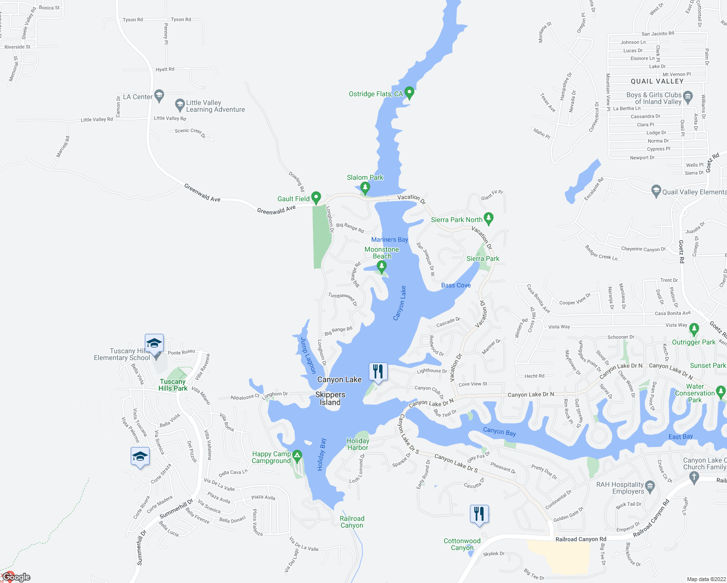 map of restaurants, bars, coffee shops, grocery stores, and more near 29654 Big Range Road in Canyon Lake