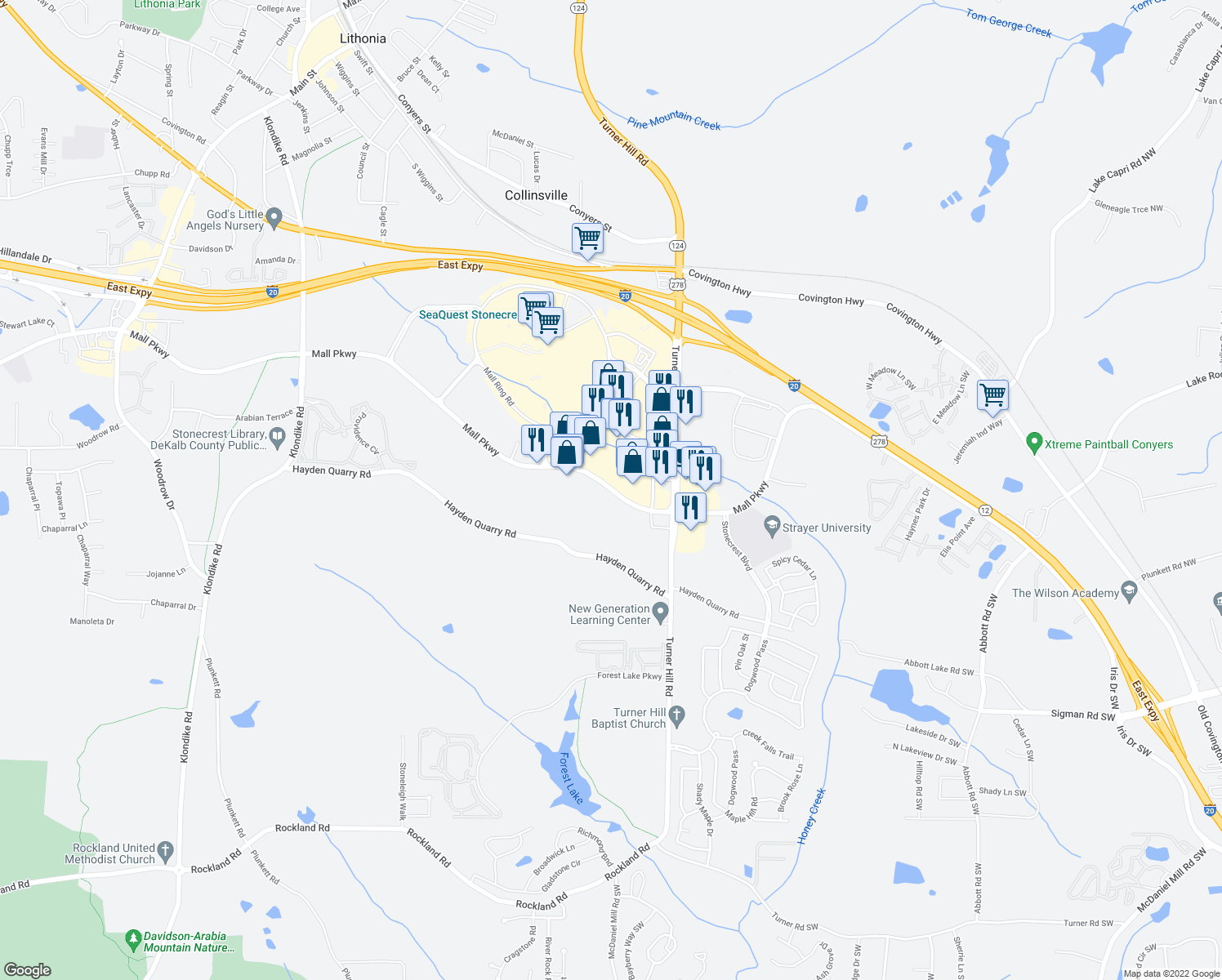 map of restaurants, bars, coffee shops, grocery stores, and more near 8160 Mall Parkway in Lithonia