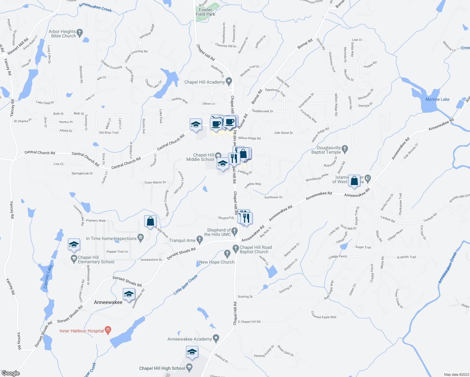 map of restaurants, bars, coffee shops, grocery stores, and more near 4125 Chapel Hill Road in Douglasville