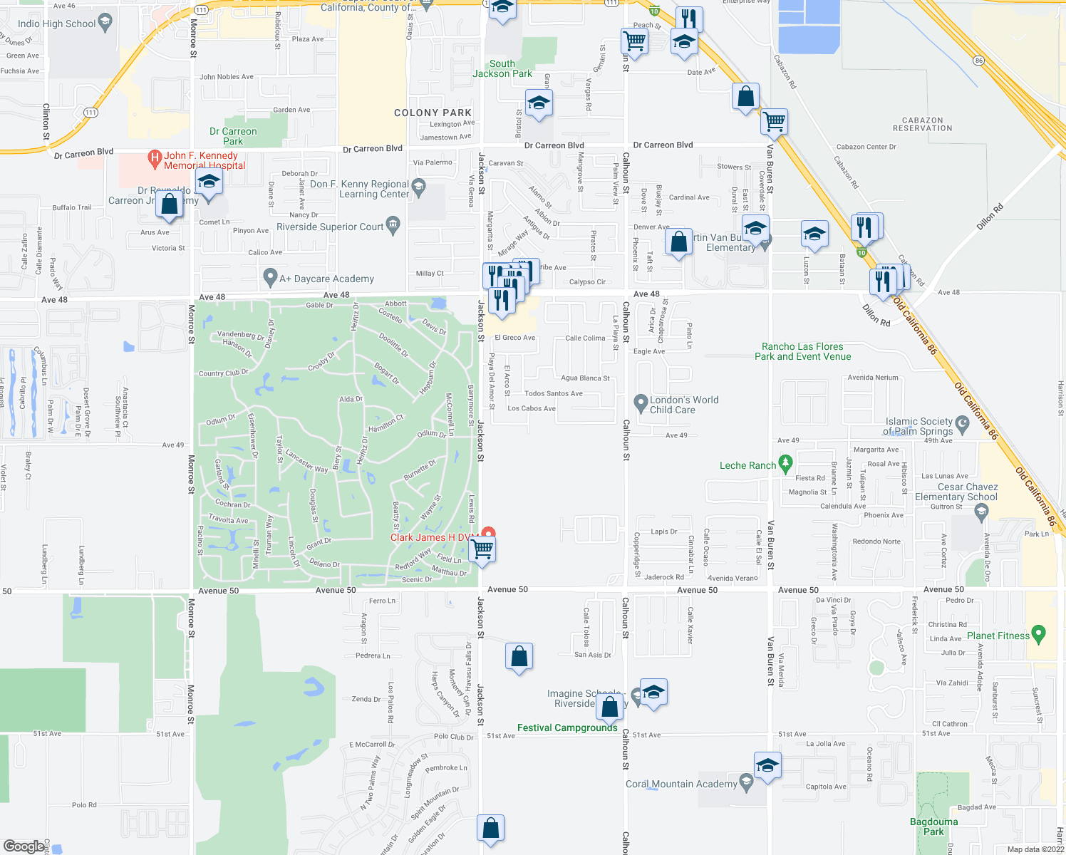 map of restaurants, bars, coffee shops, grocery stores, and more near 48998 Camino Rosarito in Coachella