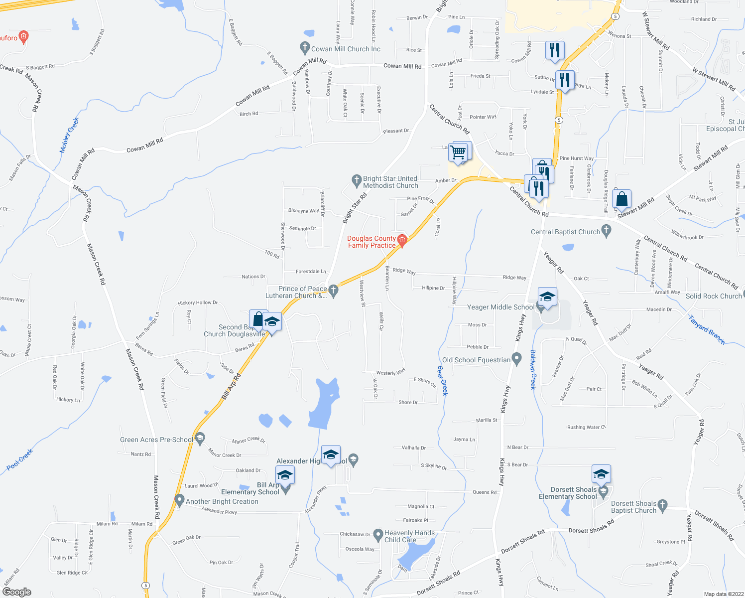 map of restaurants, bars, coffee shops, grocery stores, and more near 6441 Wells Circle in Douglasville