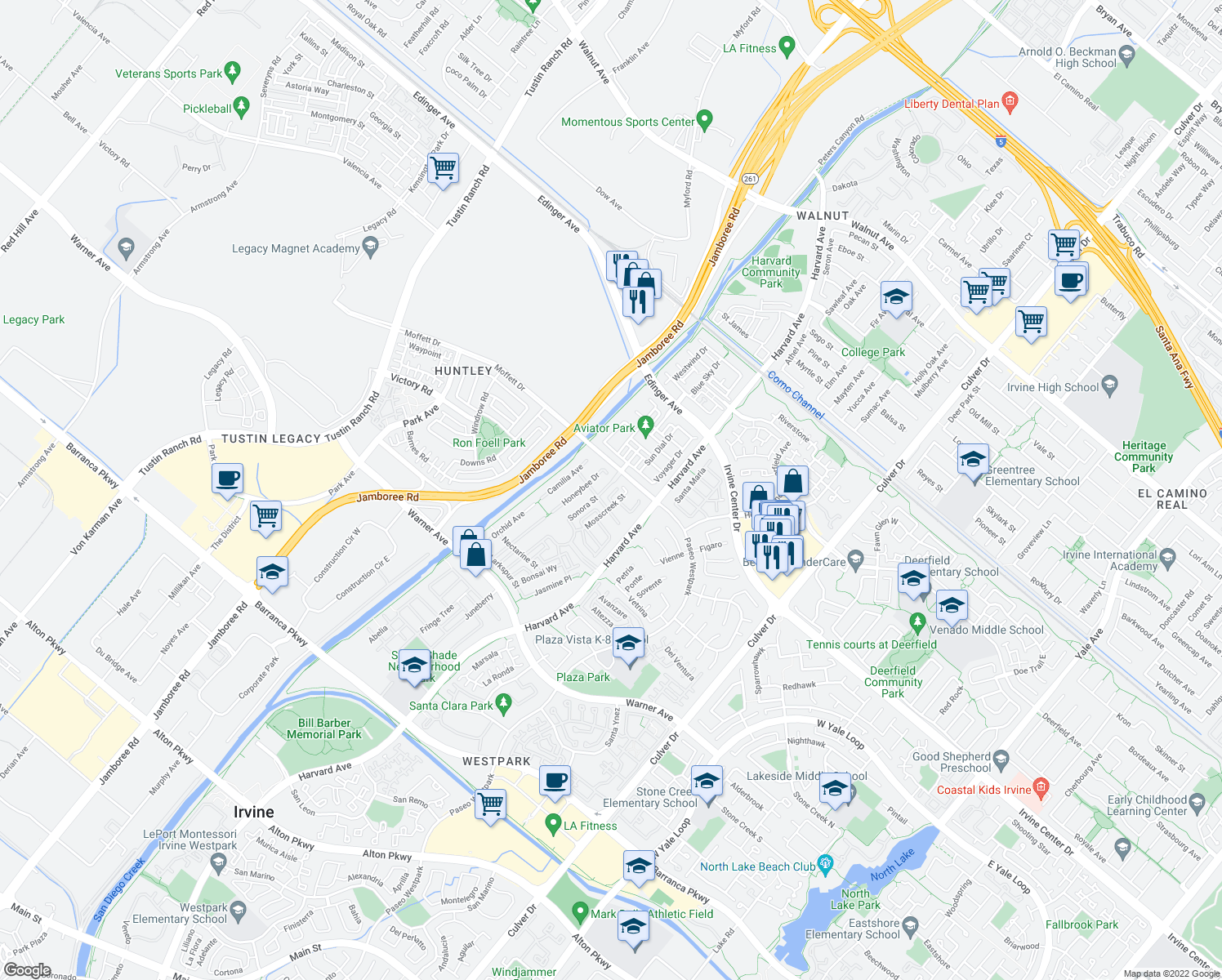 map of restaurants, bars, coffee shops, grocery stores, and more near 16632 Sonora Street in Tustin