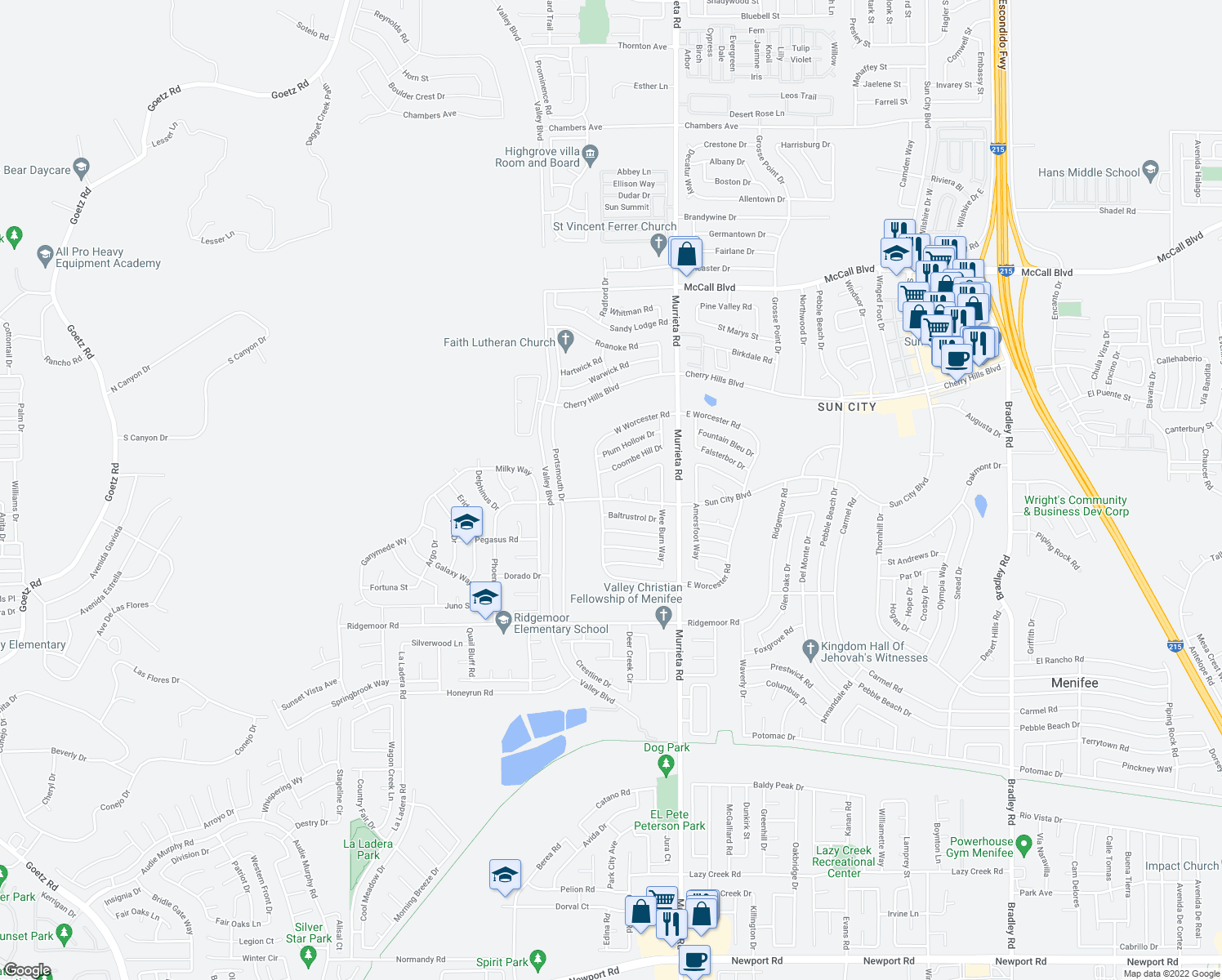 map of restaurants, bars, coffee shops, grocery stores, and more near 25760 Middlebury Way in Menifee