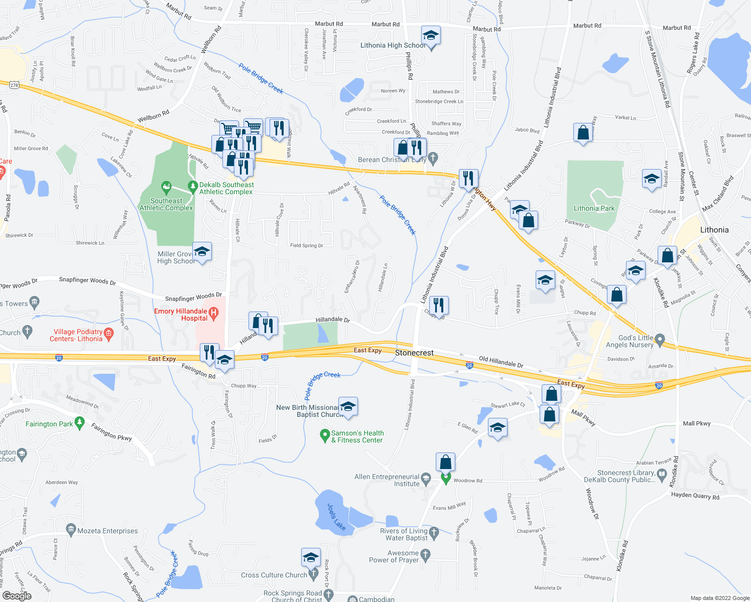 map of restaurants, bars, coffee shops, grocery stores, and more near 715 Hillandale Lane in Lithonia